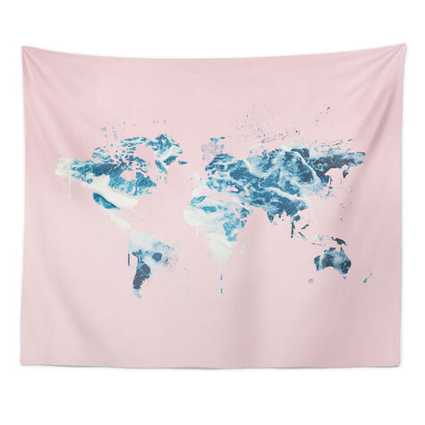 Mapamundi Millennial Pink Tapestry Art