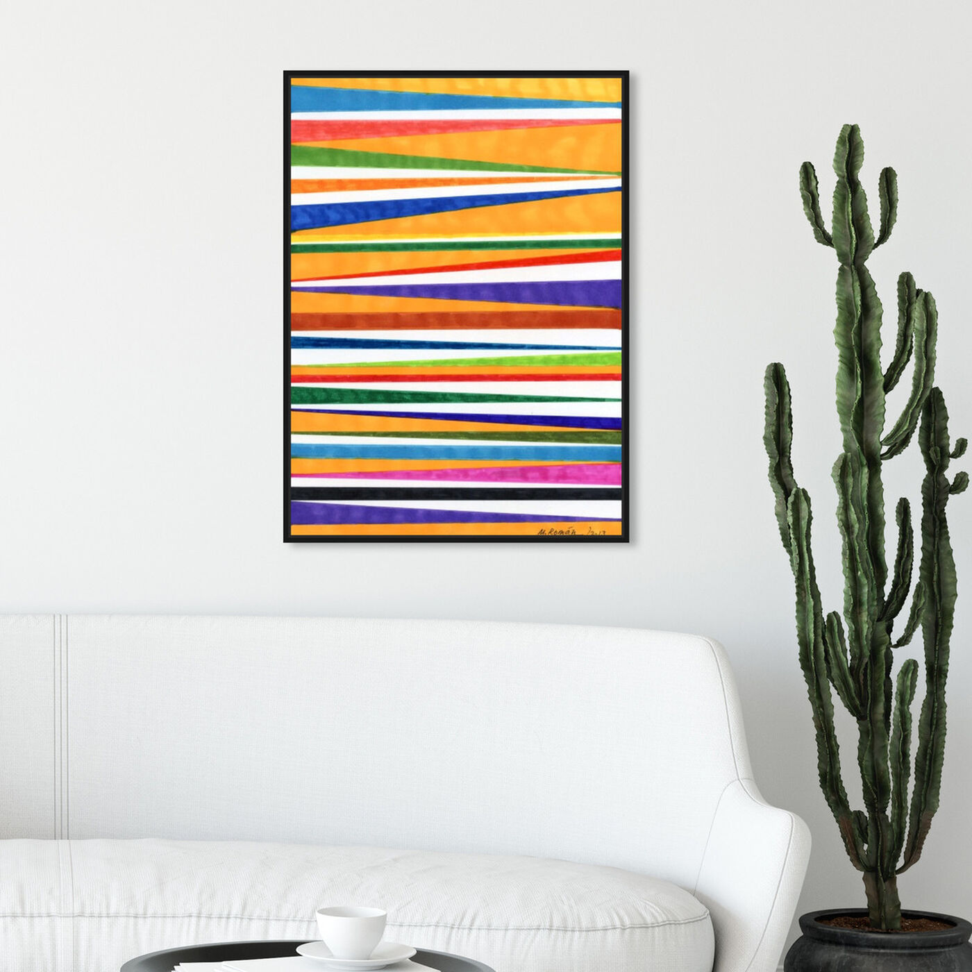 Hanging view of Canotiers in Color featuring abstract and geometric art.