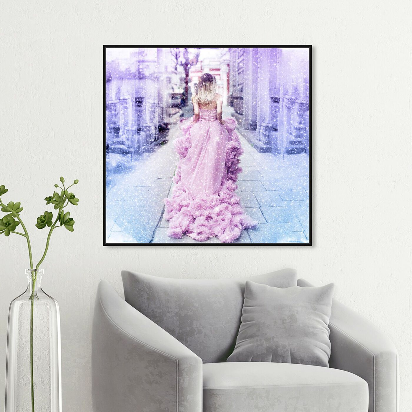 Hanging view of Waking up Late featuring fashion and glam and dress art.