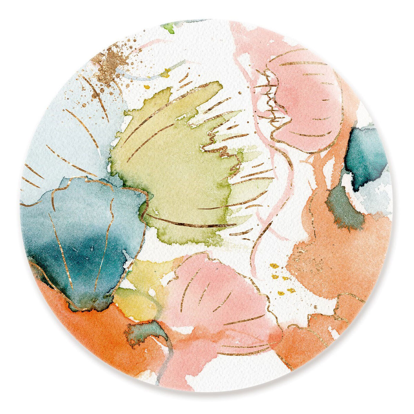 Front view of My Wild Garden Circle featuring abstract and watercolor art.