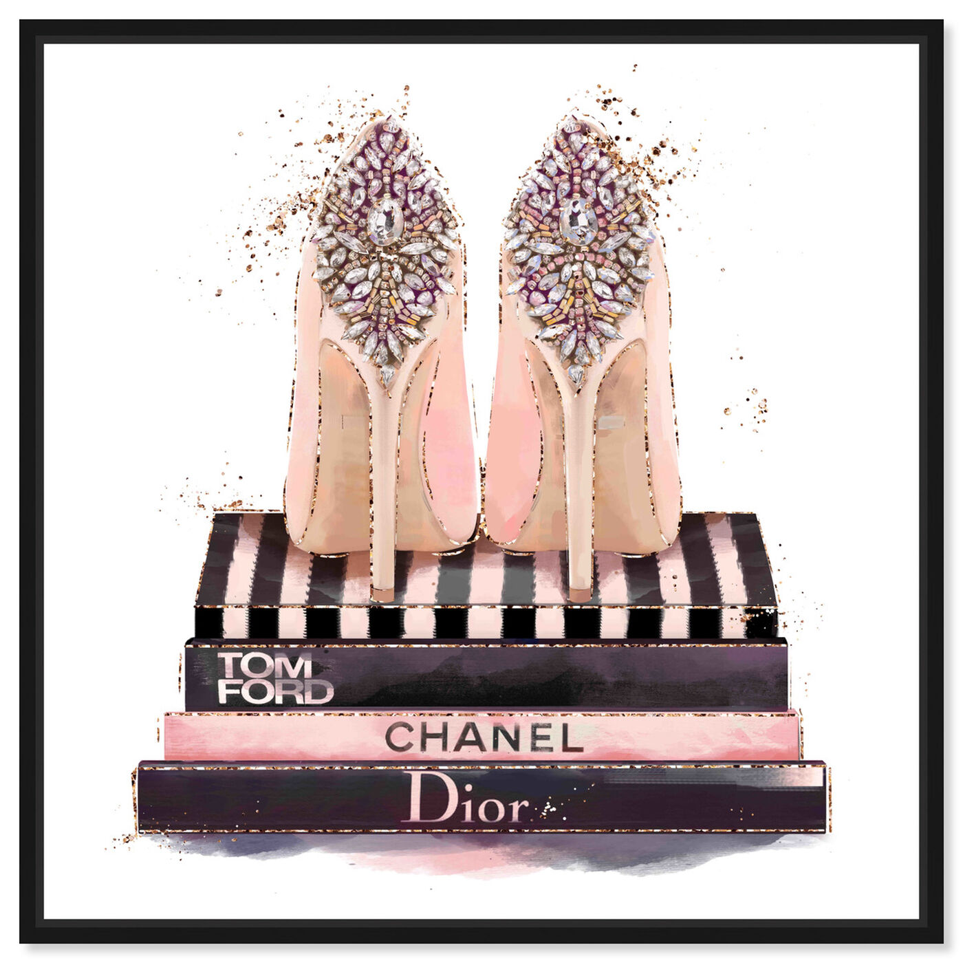 Front view of Treasured Shoes featuring fashion and glam and shoes art.