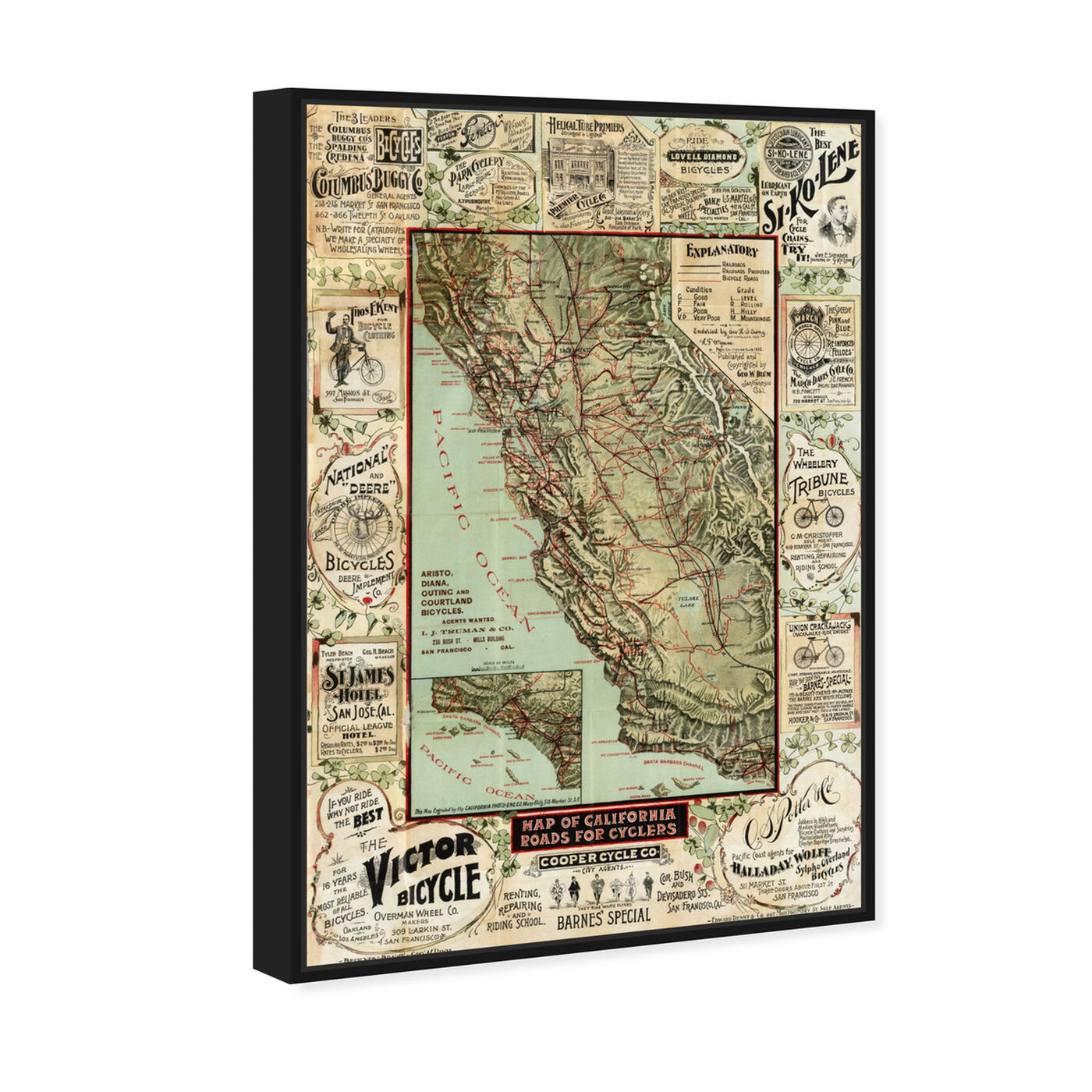 Angled view of Map of California 1896 for Cyclers featuring maps and flags and us states maps art.
