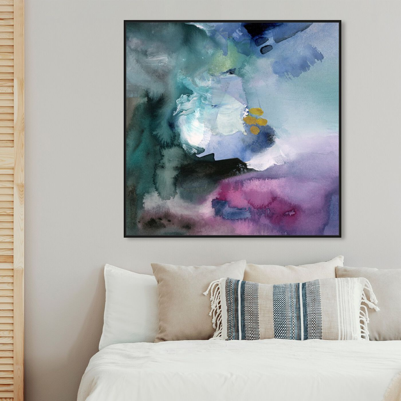 Hanging view of Nebulosa Abstract featuring abstract and watercolor art.