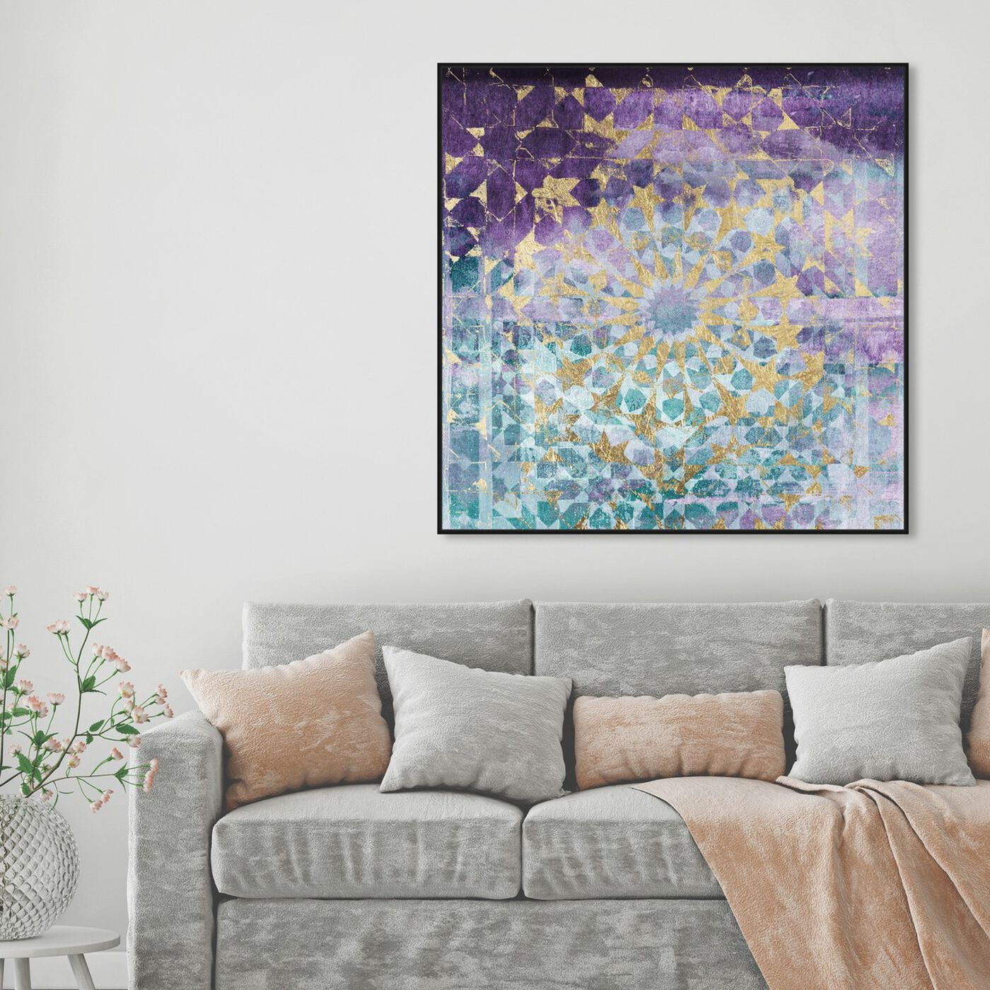 Hanging view of Viridian Violet Mandala featuring abstract and patterns art.