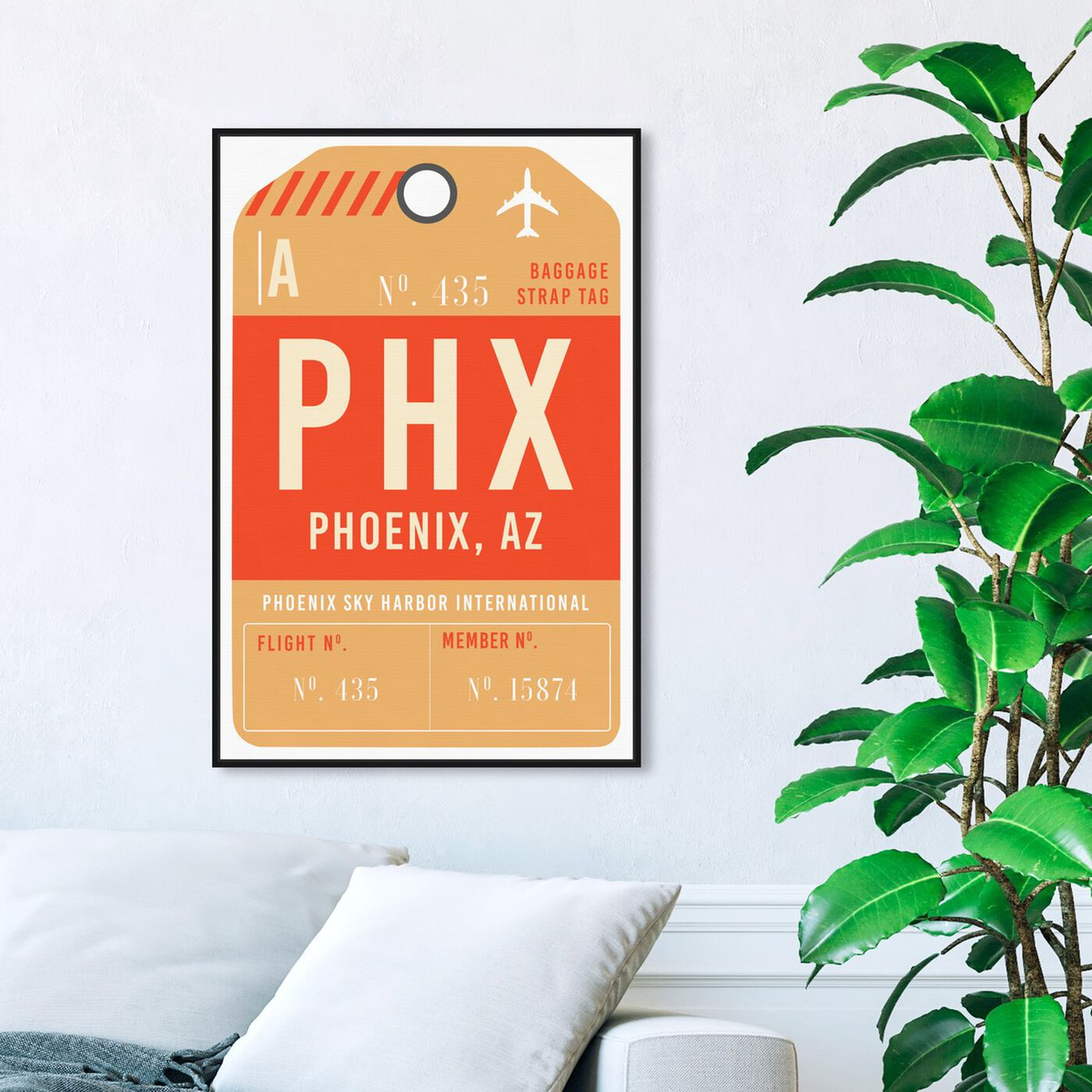Hanging view of Phoenix Luggage Tag featuring cities and skylines and united states cities art.