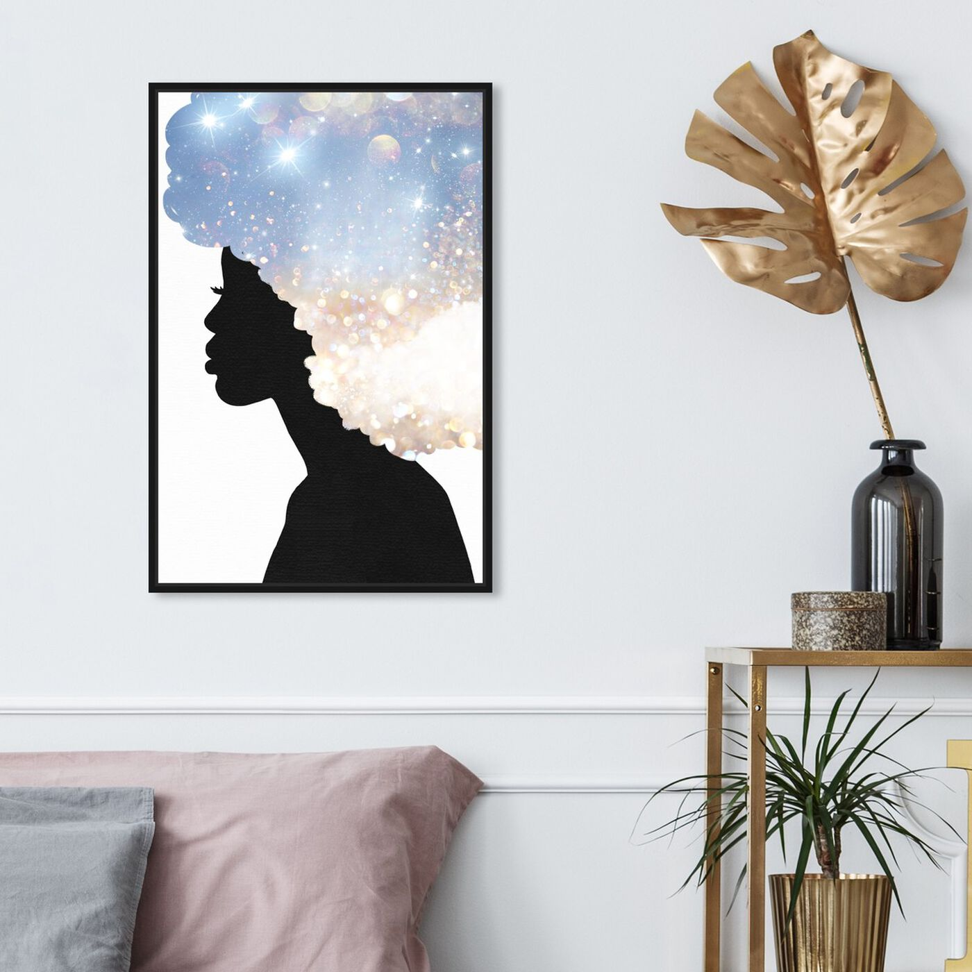 Hanging view of Her Head in the Clouds featuring fashion and glam and portraits art.