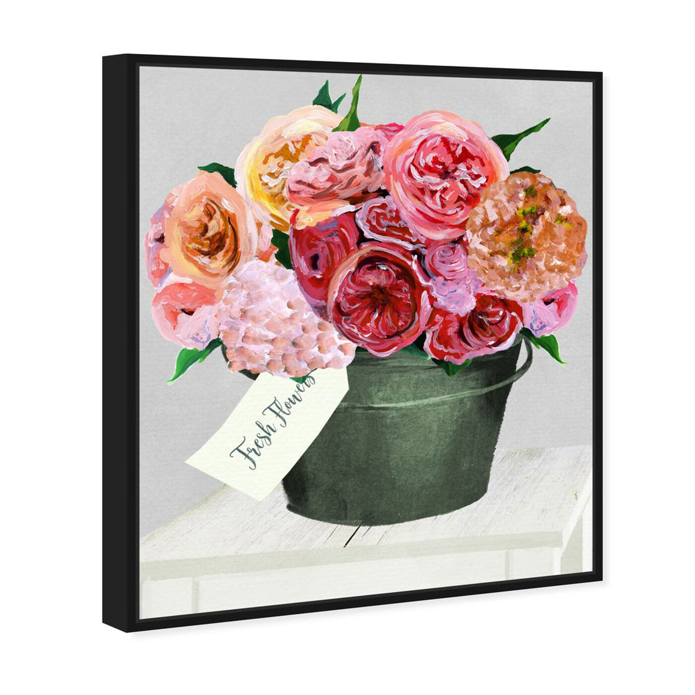 Angled view of Bucket Full of Buttercups featuring floral and botanical and florals art.