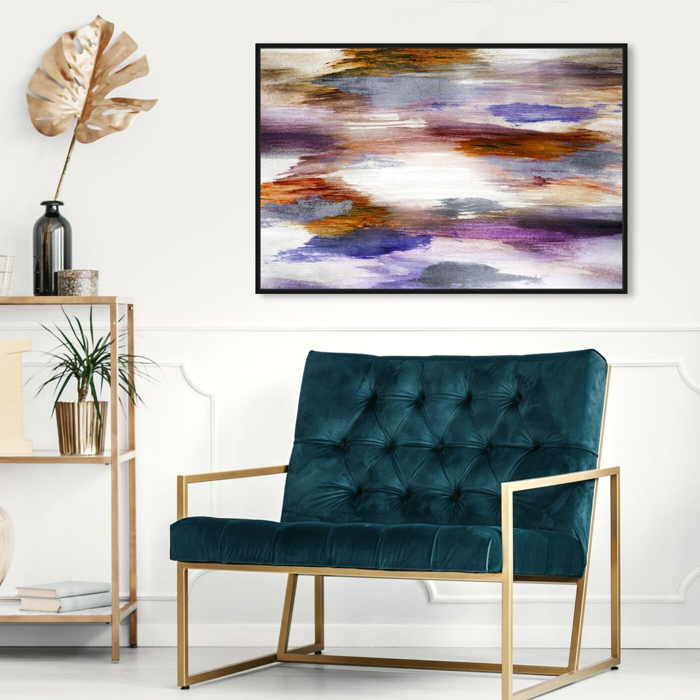 Hanging view of Waiting Bliss Plum and Rust featuring abstract and paint art.