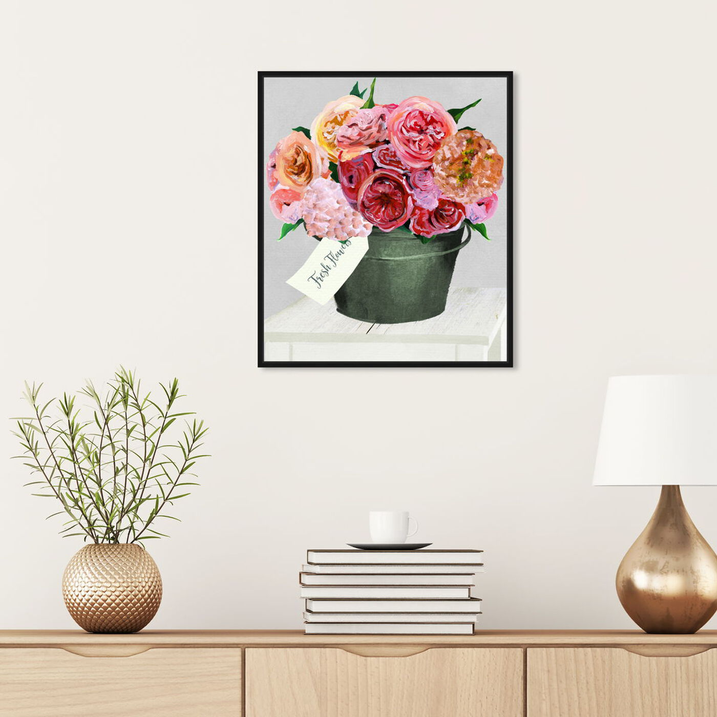 Hanging view of Bucket Full of Buttercups featuring floral and botanical and florals art.