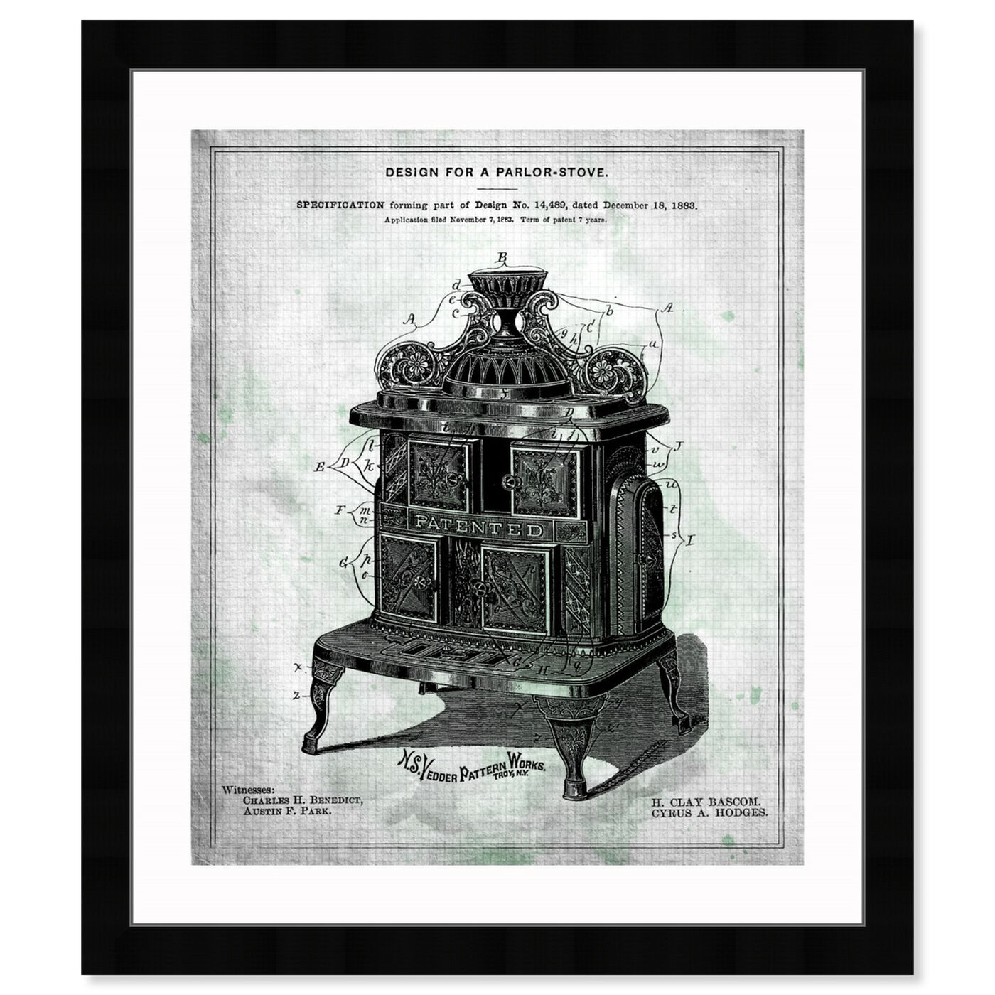 Front view of Design for a Parlor-Stove 1883 featuring food and cuisine and kitchen art.