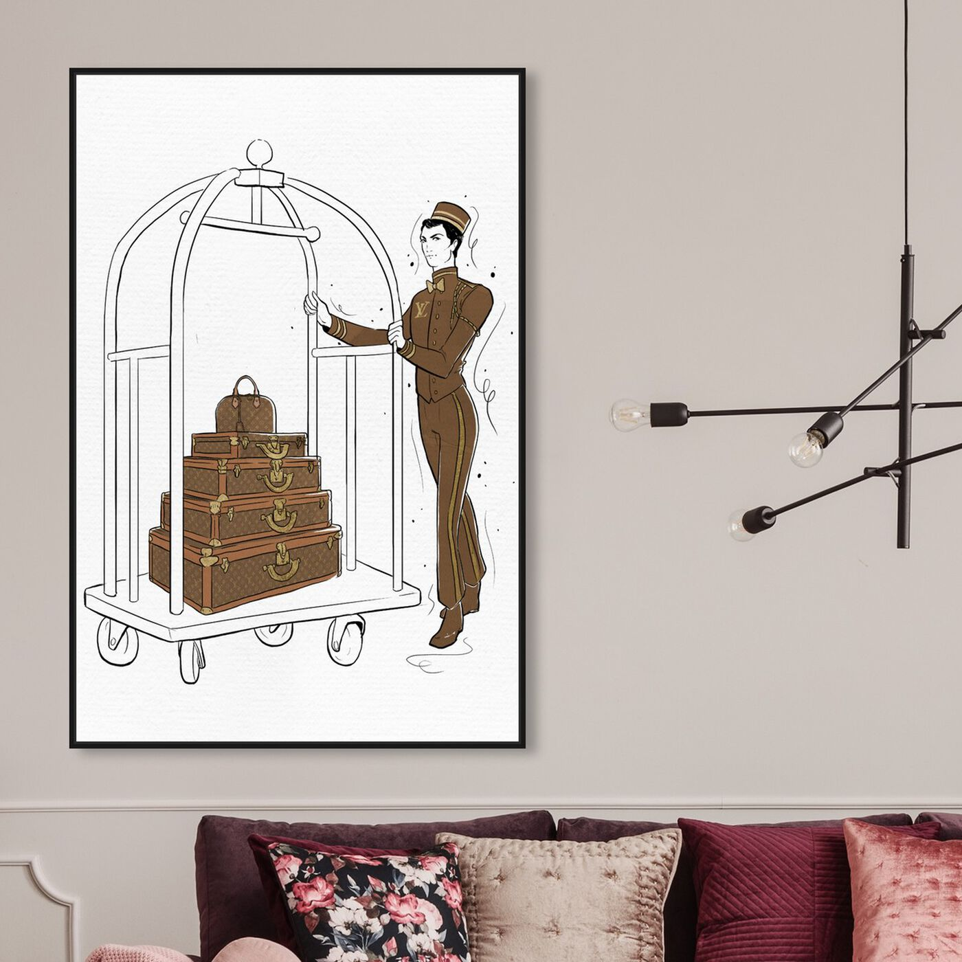 Hanging view of Luggage Lobby Boy featuring fashion and glam and travel essentials art.