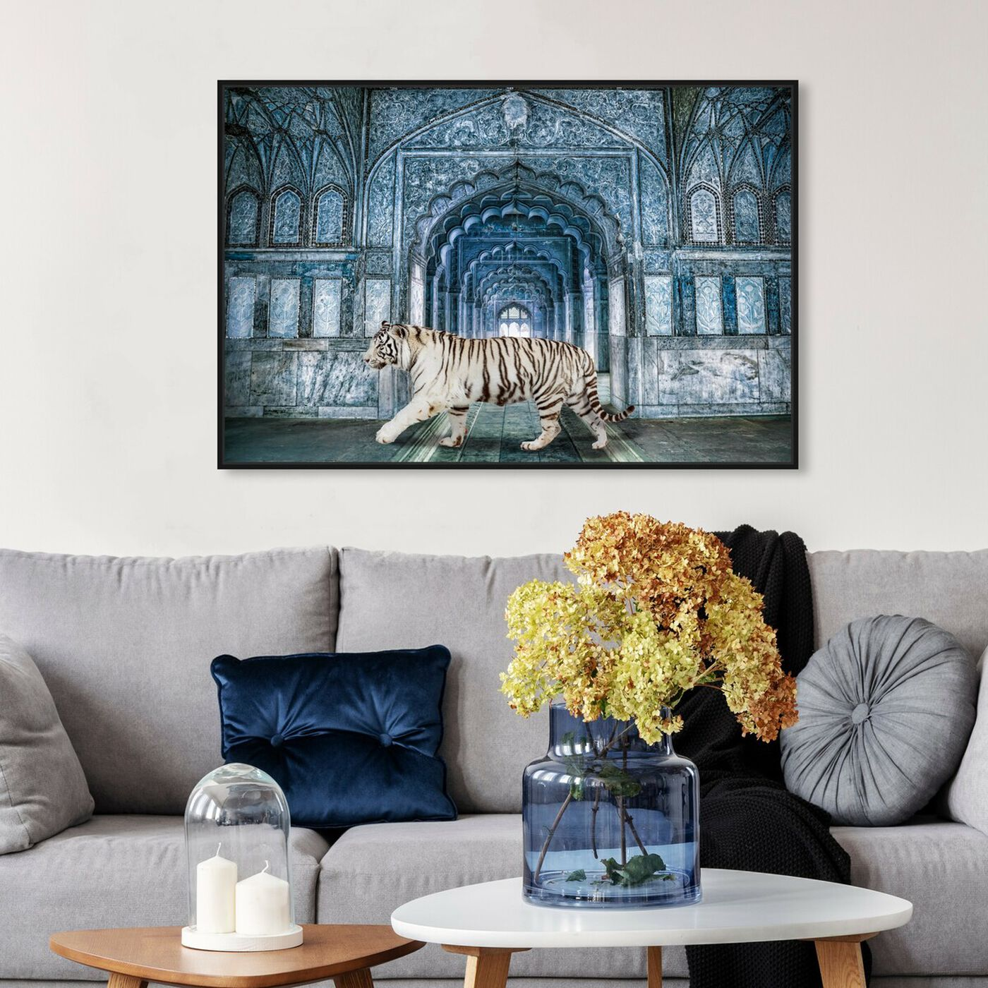 Hanging view of Wild Nature Blues featuring animals and felines art.