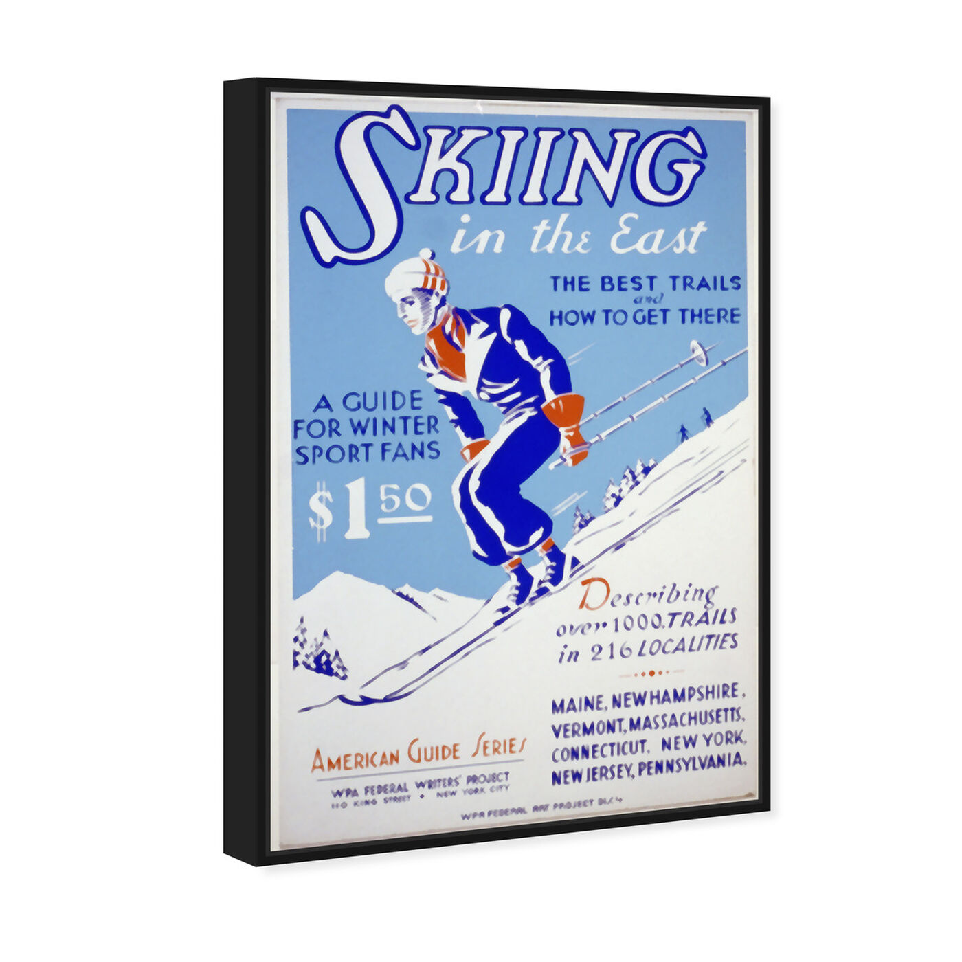 Angled view of Skiing in the East featuring advertising and posters art.