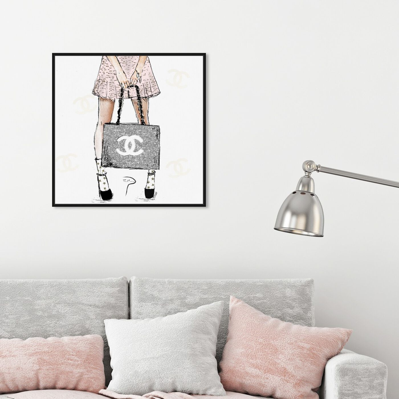 Hanging view of Pily Montiel - Tweed Girl Rose featuring fashion and glam and handbags art.