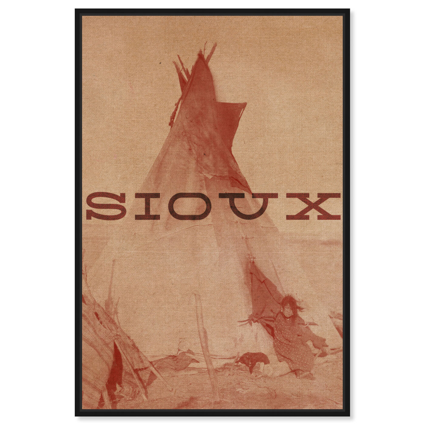 Front view of Sioux featuring world and countries and american indigenous art.