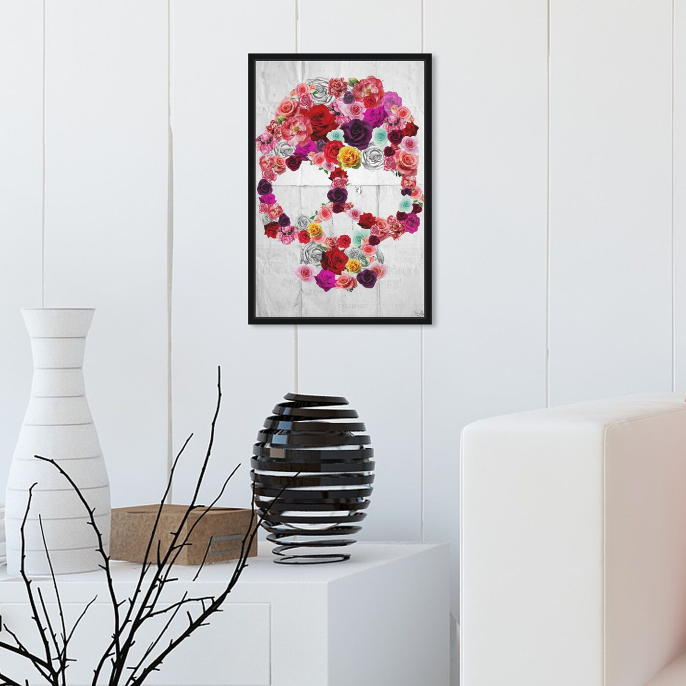Hanging view of Bed of Roses featuring floral and botanical and florals art.