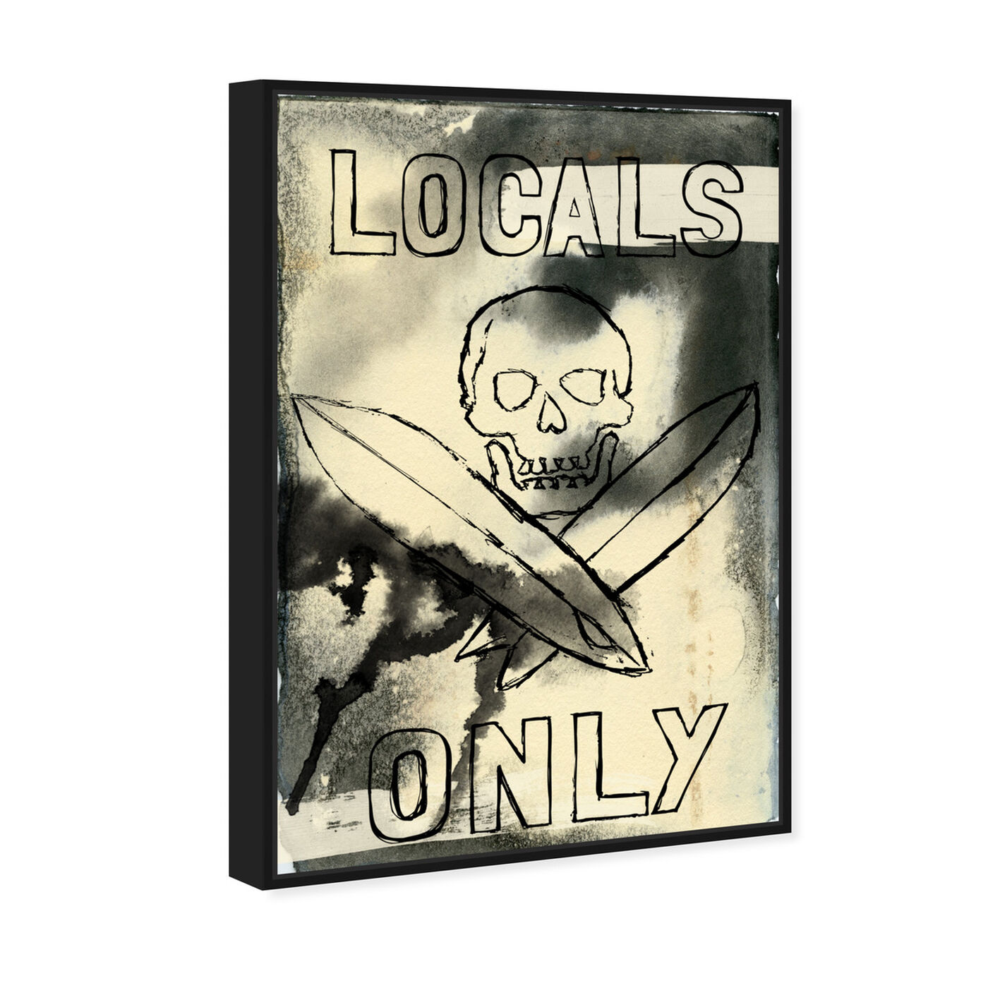Angled view of Locals Only featuring symbols and objects and skull art.