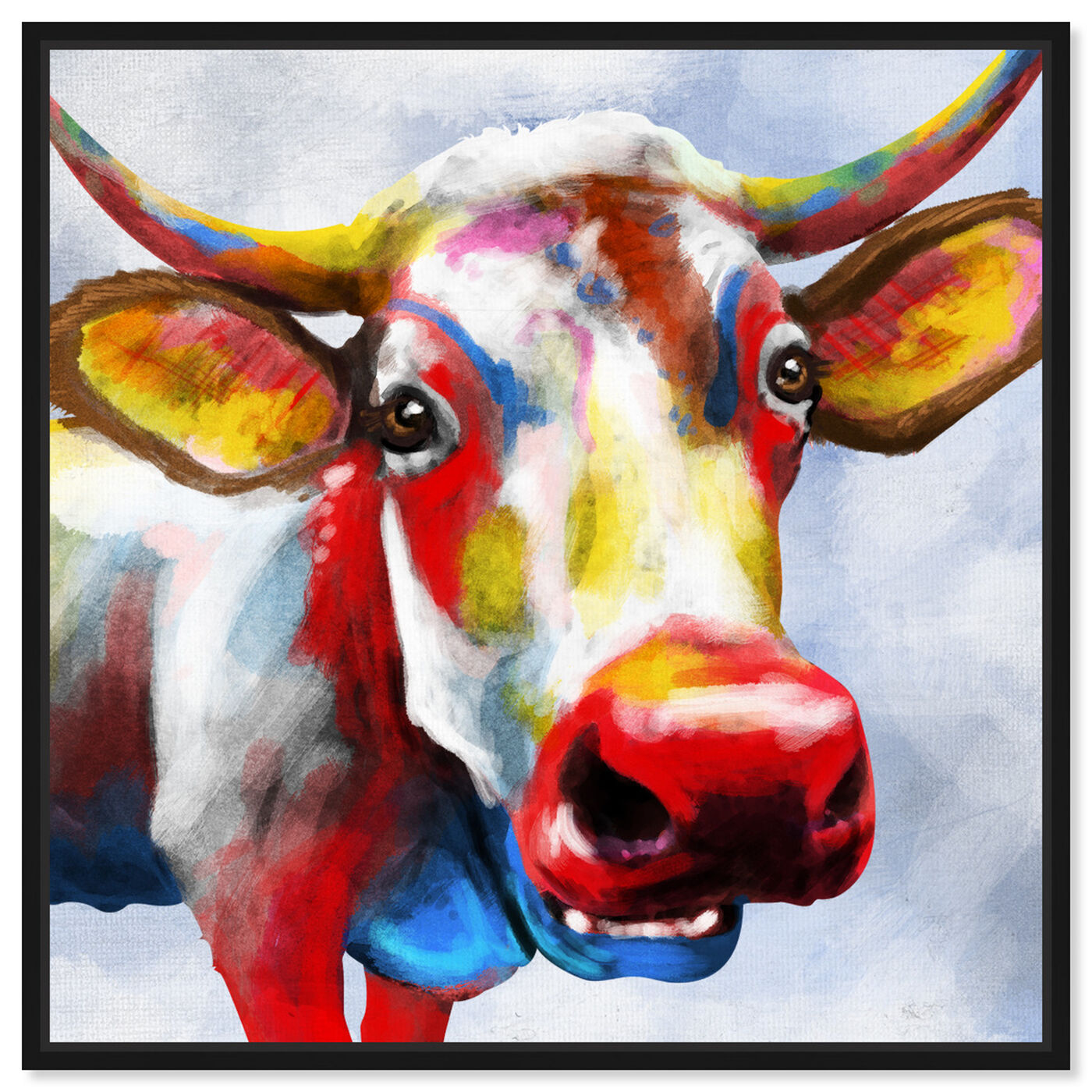 Front view of Color Spash Bovine featuring animals and farm animals art.