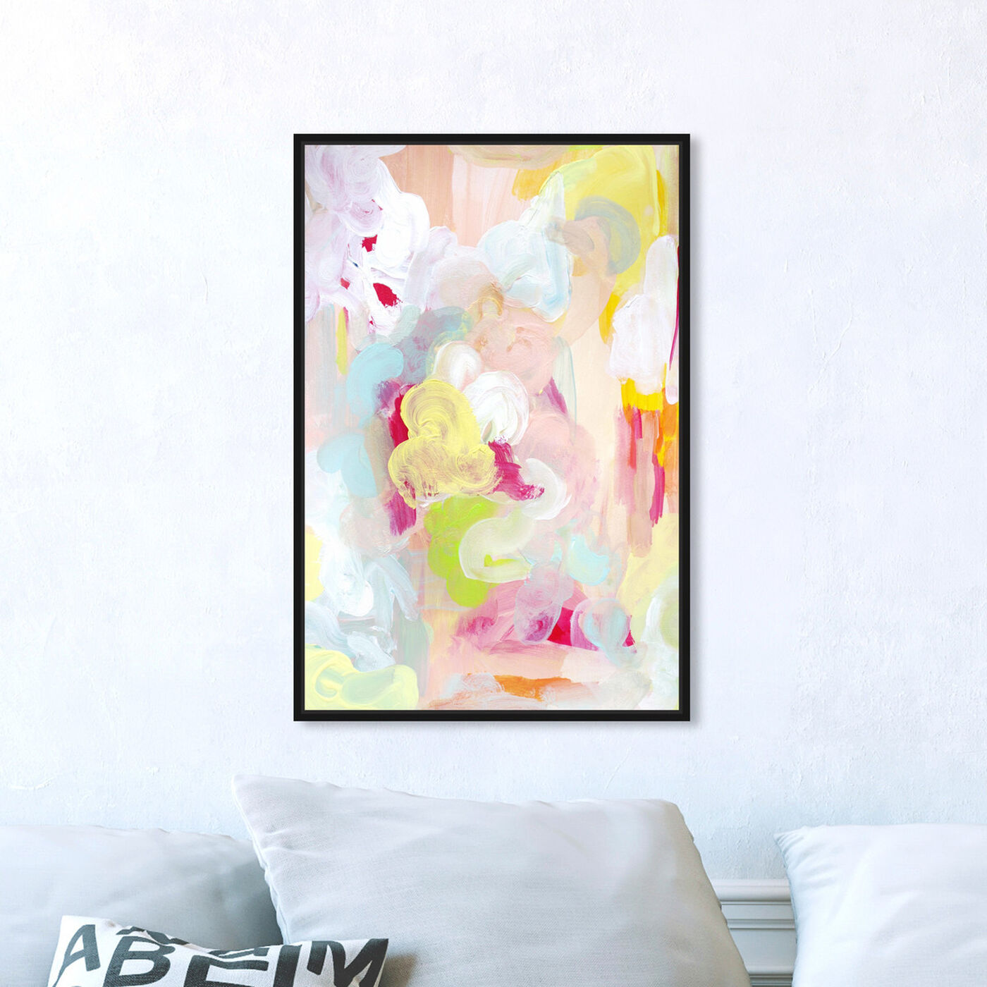 Hanging view of Flowers at Sunset featuring abstract and paint art.
