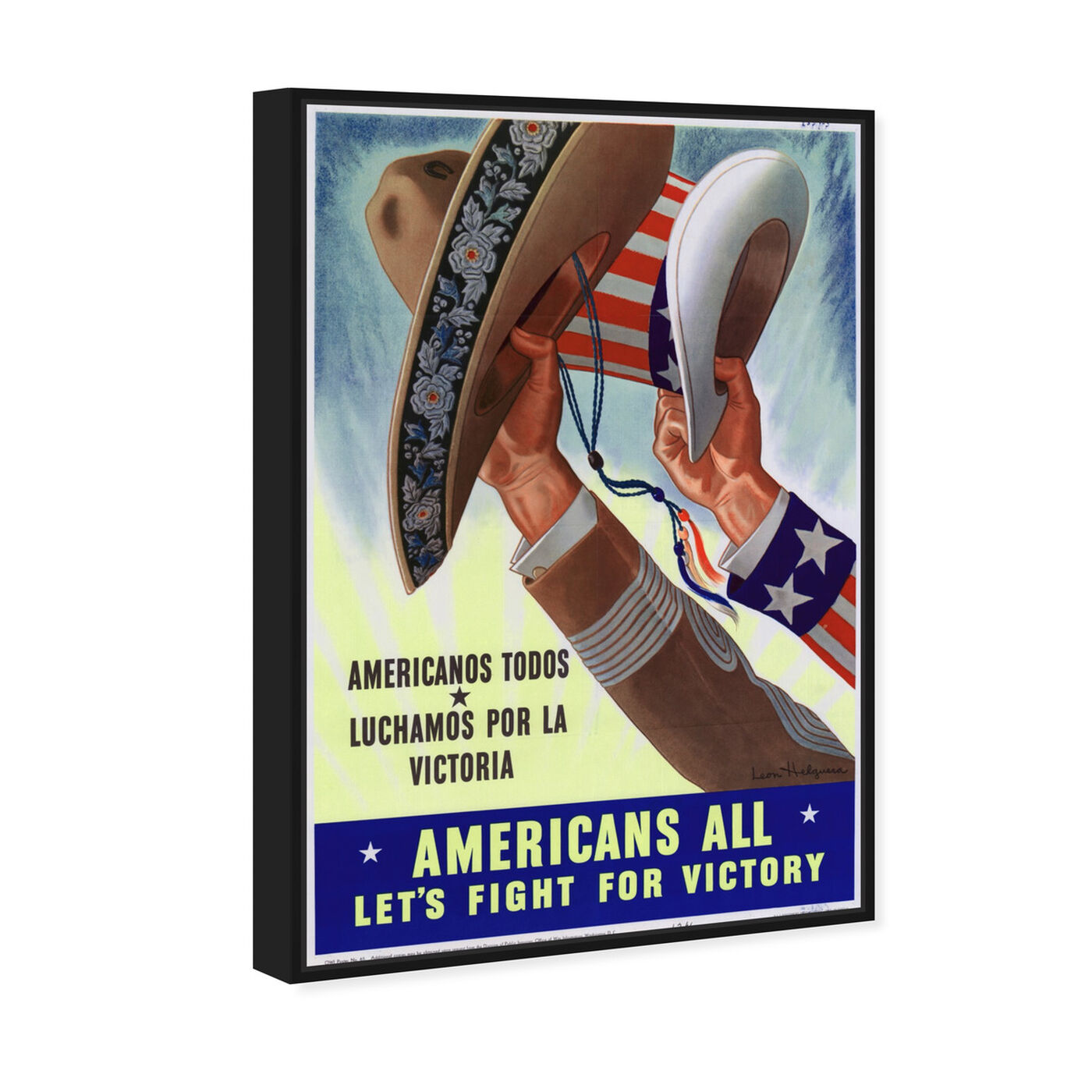 Angled view of Americans All featuring advertising and posters art.