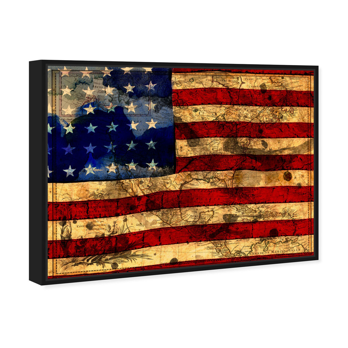 Angled view of The Flag featuring maps and flags and american countries flags art.