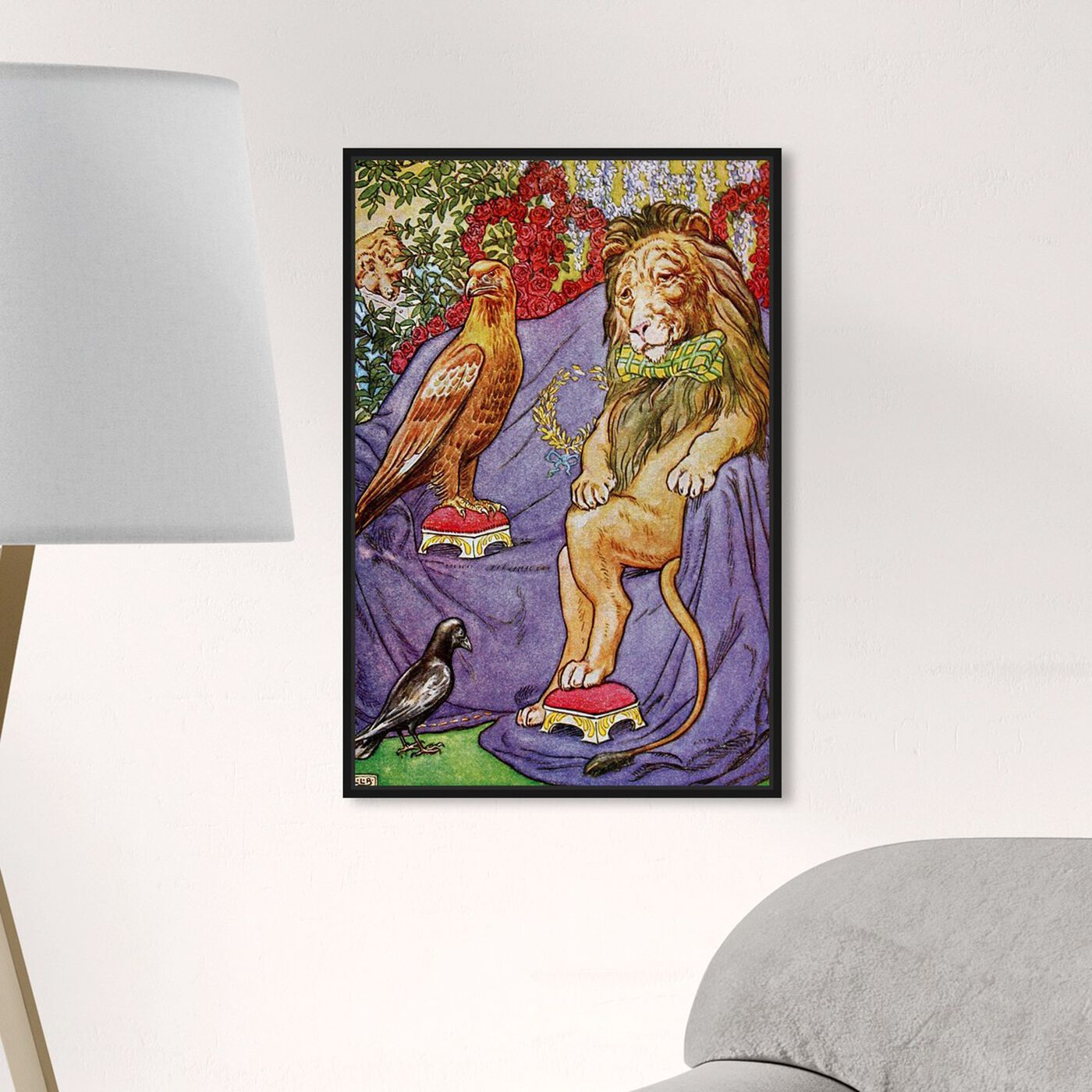 Hanging view of The Wise King featuring animals and felines art.