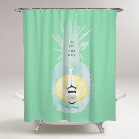 Pineapple Peace Shower Curtain by Maggie P. Chang