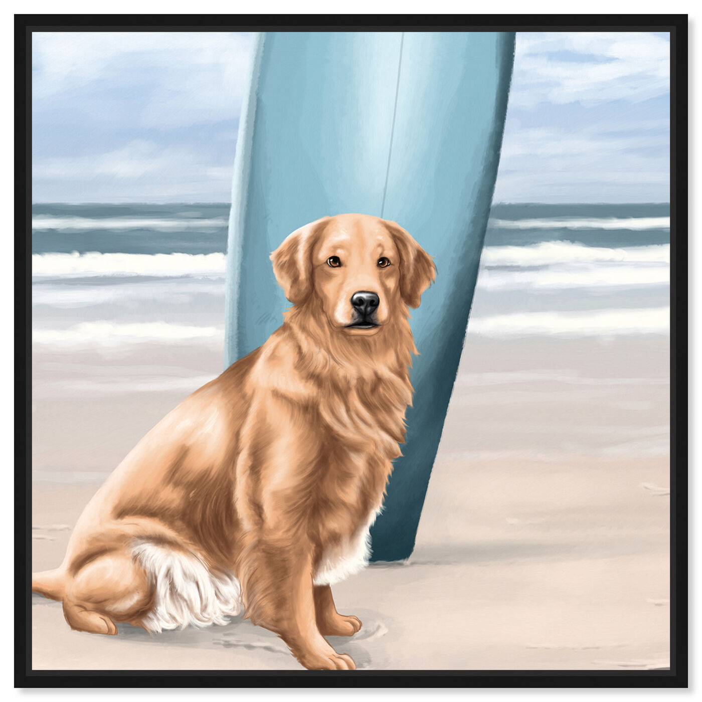 Front view of Surfer Golden Retriever featuring animals and dogs and puppies art.