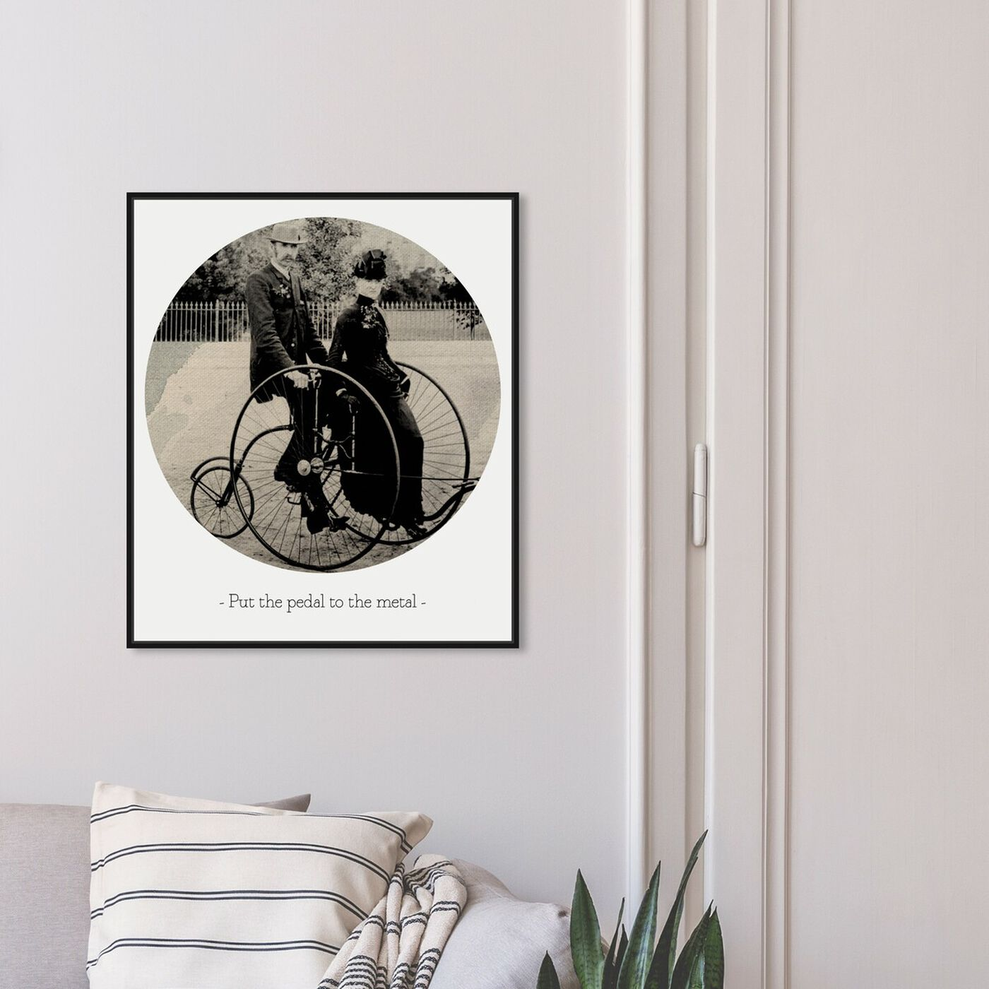 Hanging view of Pedal to the Metal featuring classic and figurative and family life art.