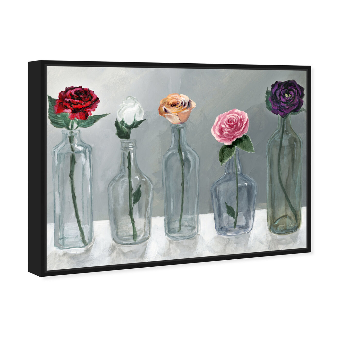 Angled view of Bottled Flowers featuring floral and botanical and florals art.