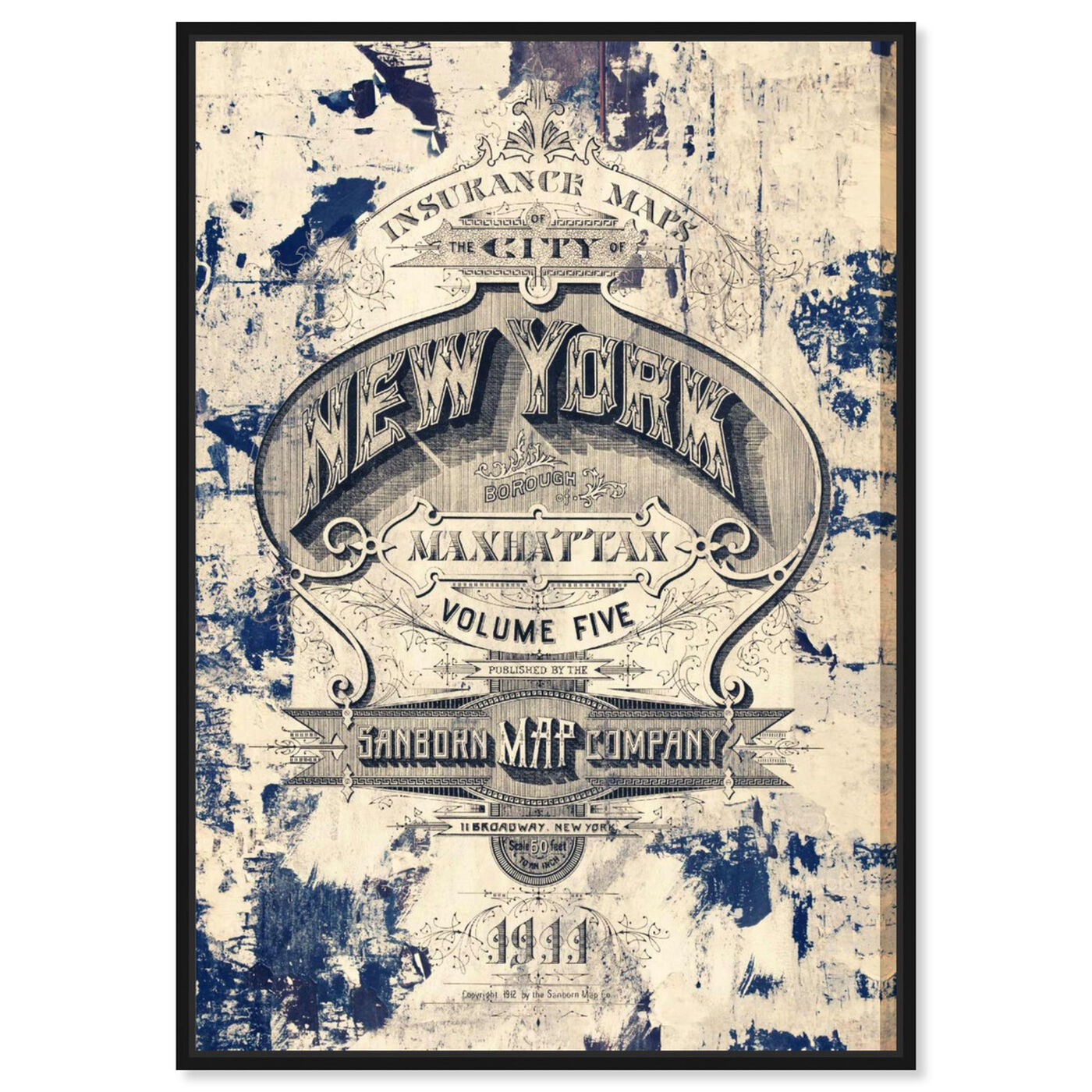 Front view of New York Insurance featuring advertising and posters art.