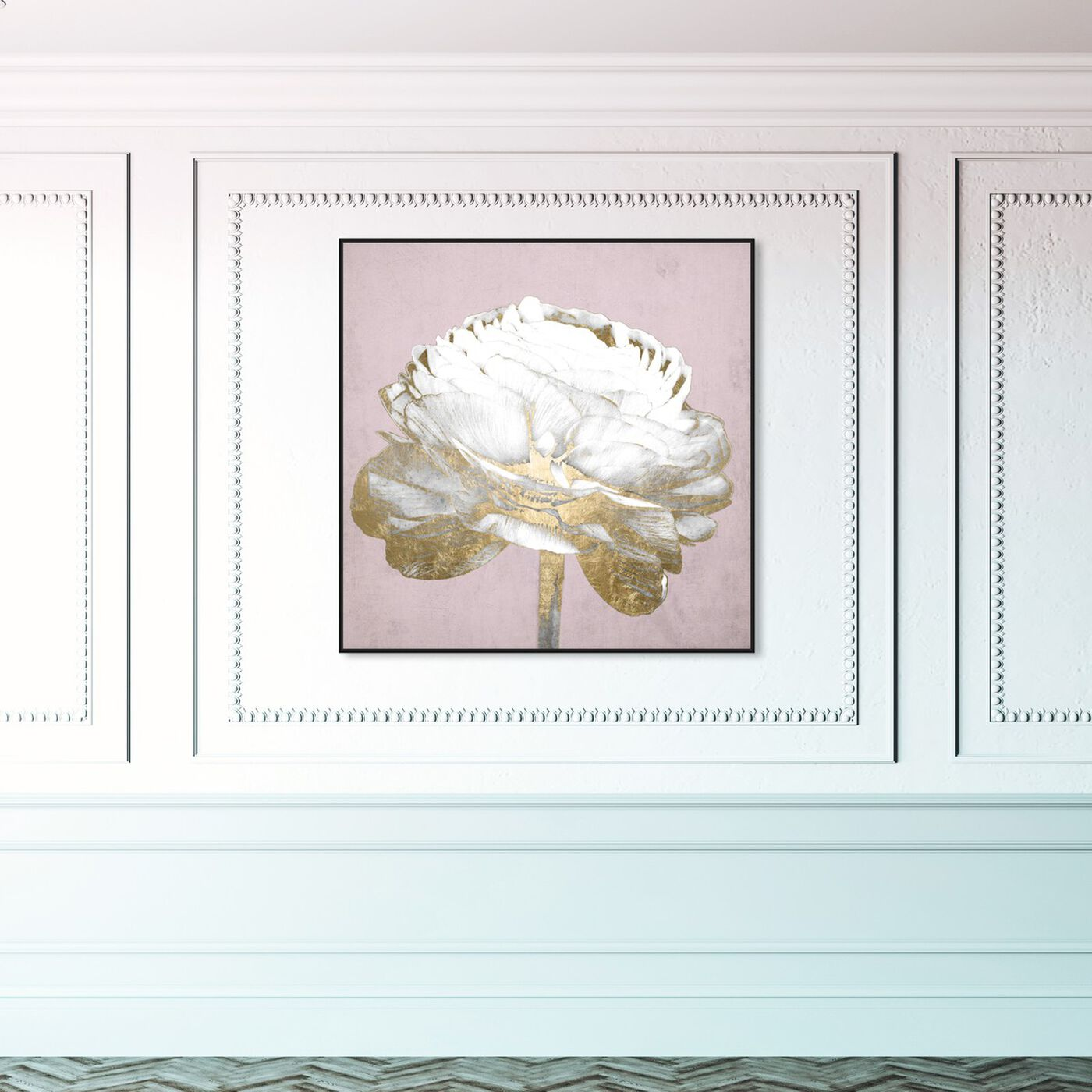 Hanging view of Blush Gold Luxe Flower featuring floral and botanical and florals art.