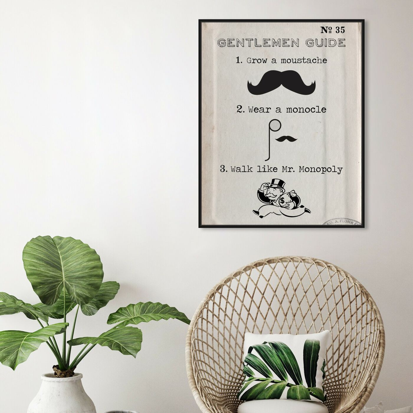 Hanging view of Gentlemen Guide featuring typography and quotes and funny quotes and sayings art.