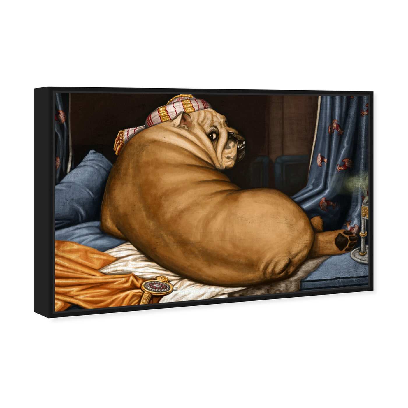 Angled view of Grande Bulldog-alisque By Carson Kressley featuring classic and figurative and classic art.