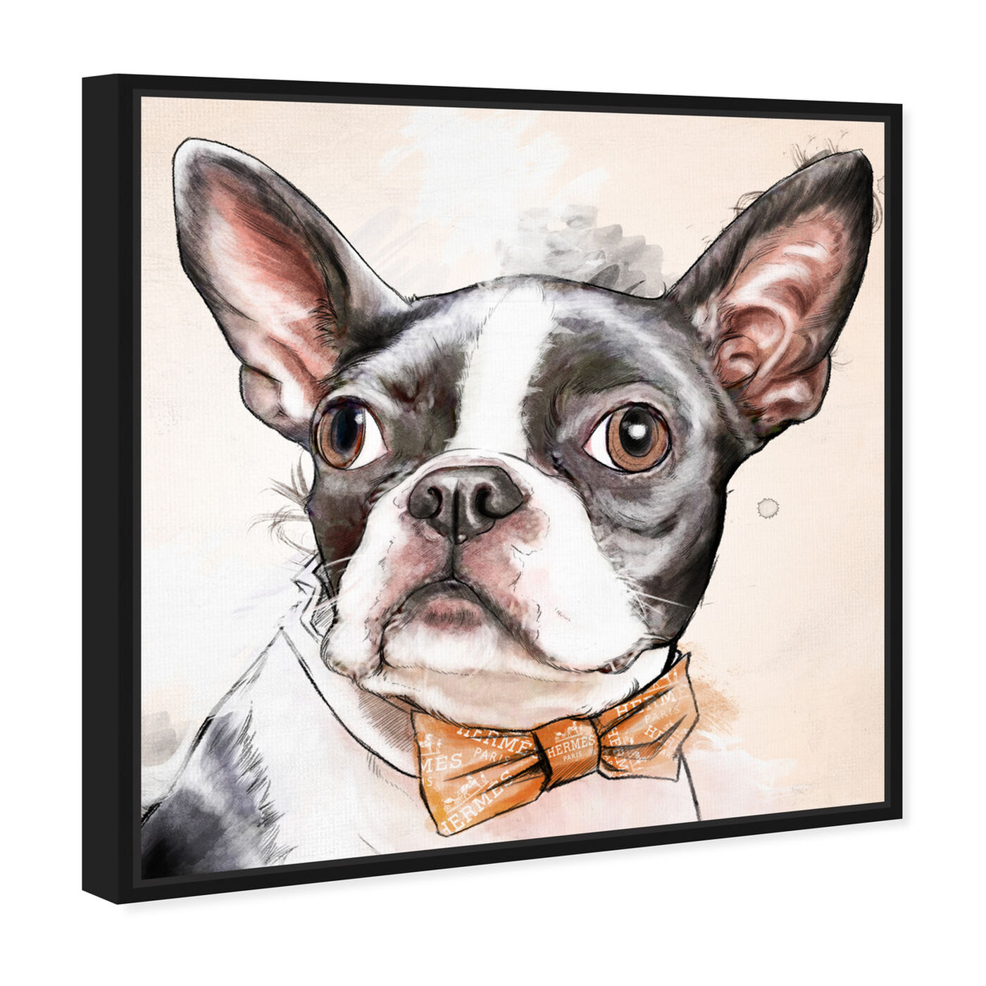 Angled view of Boston Terrier Watercolor featuring animals and dogs and puppies art.