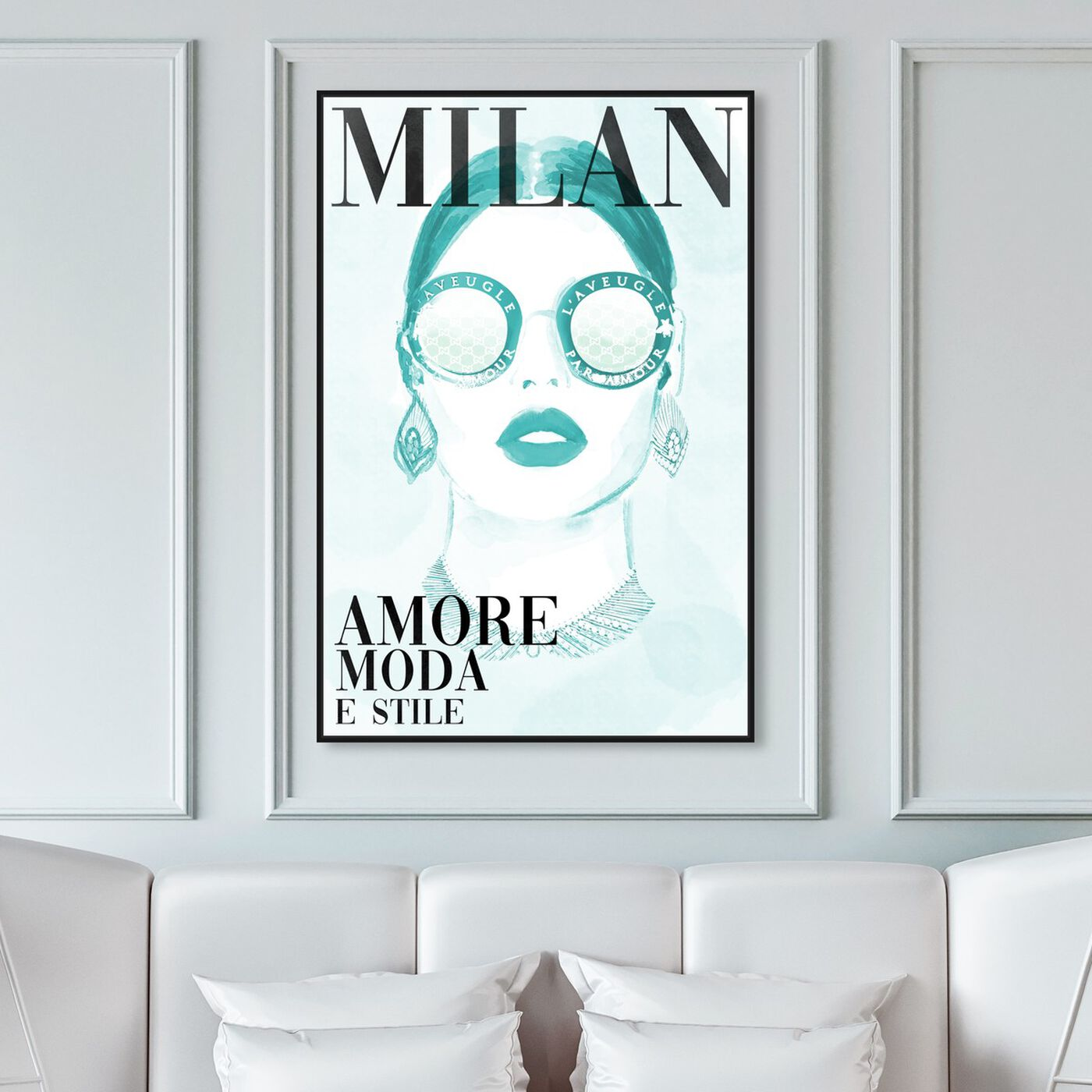 Hanging view of Cover Watercolor Milan Aqua featuring fashion and glam and portraits art.