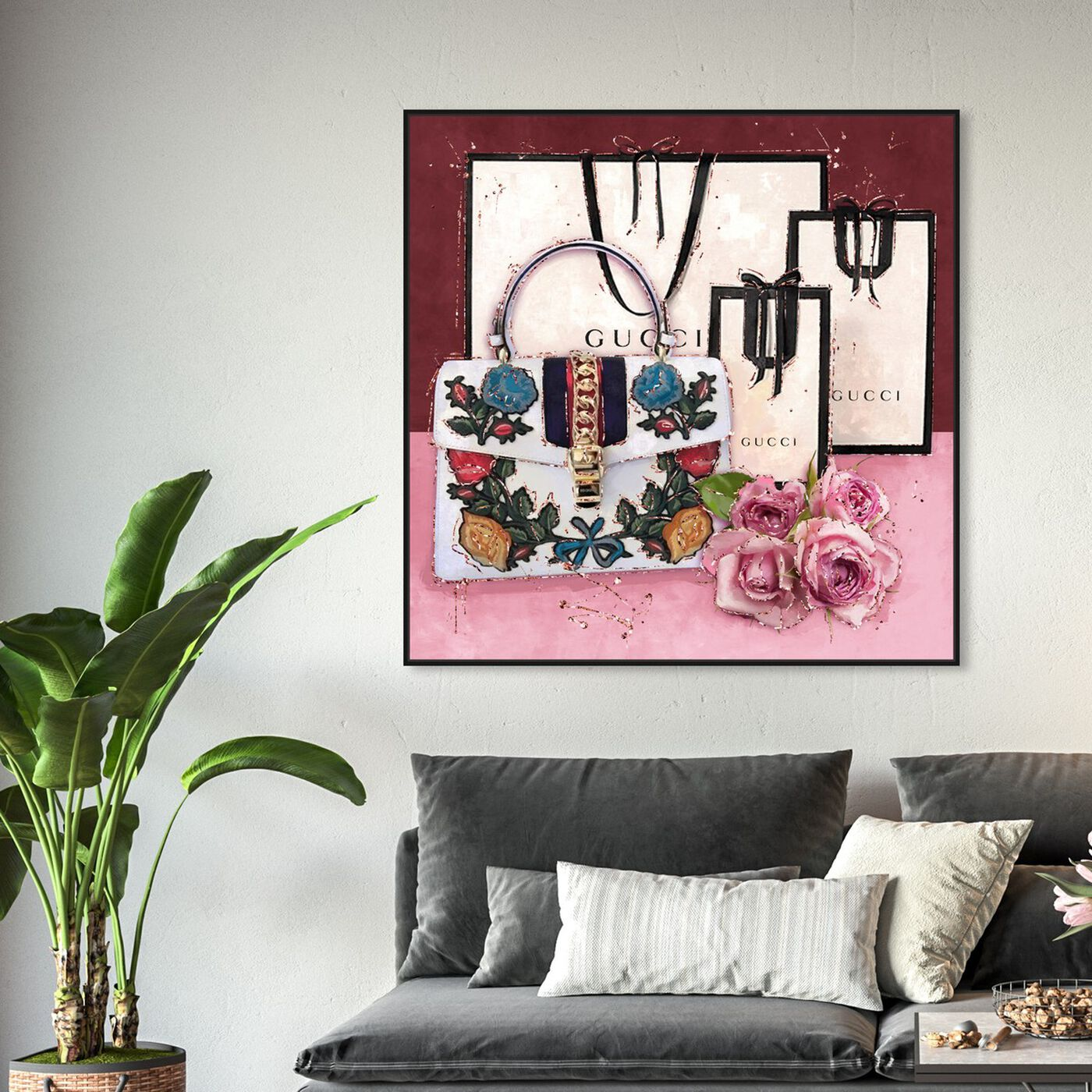 Hanging view of From Italian Garden featuring fashion and glam and handbags art.