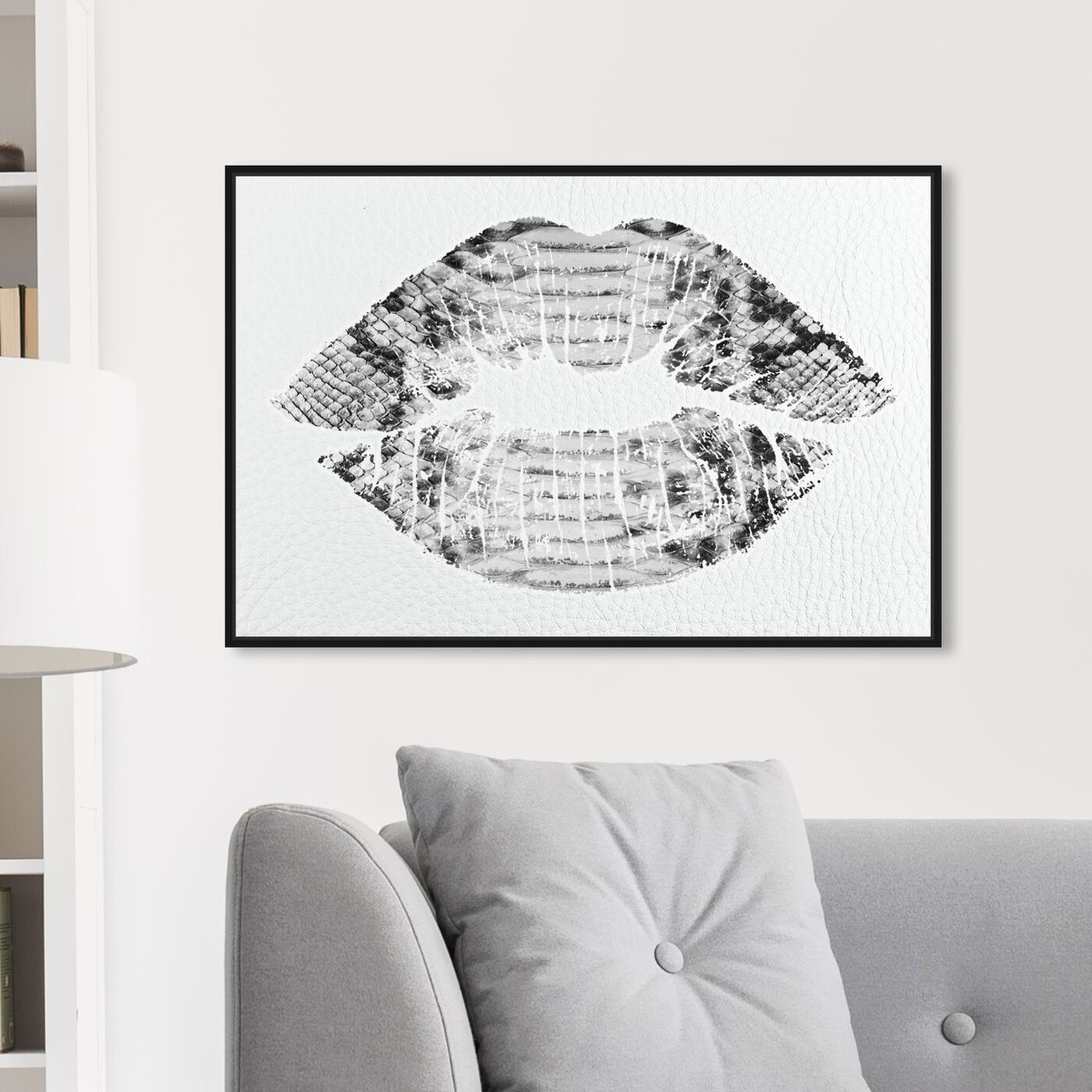 Hanging view of Solid Kiss Leather featuring fashion and glam and lips art.