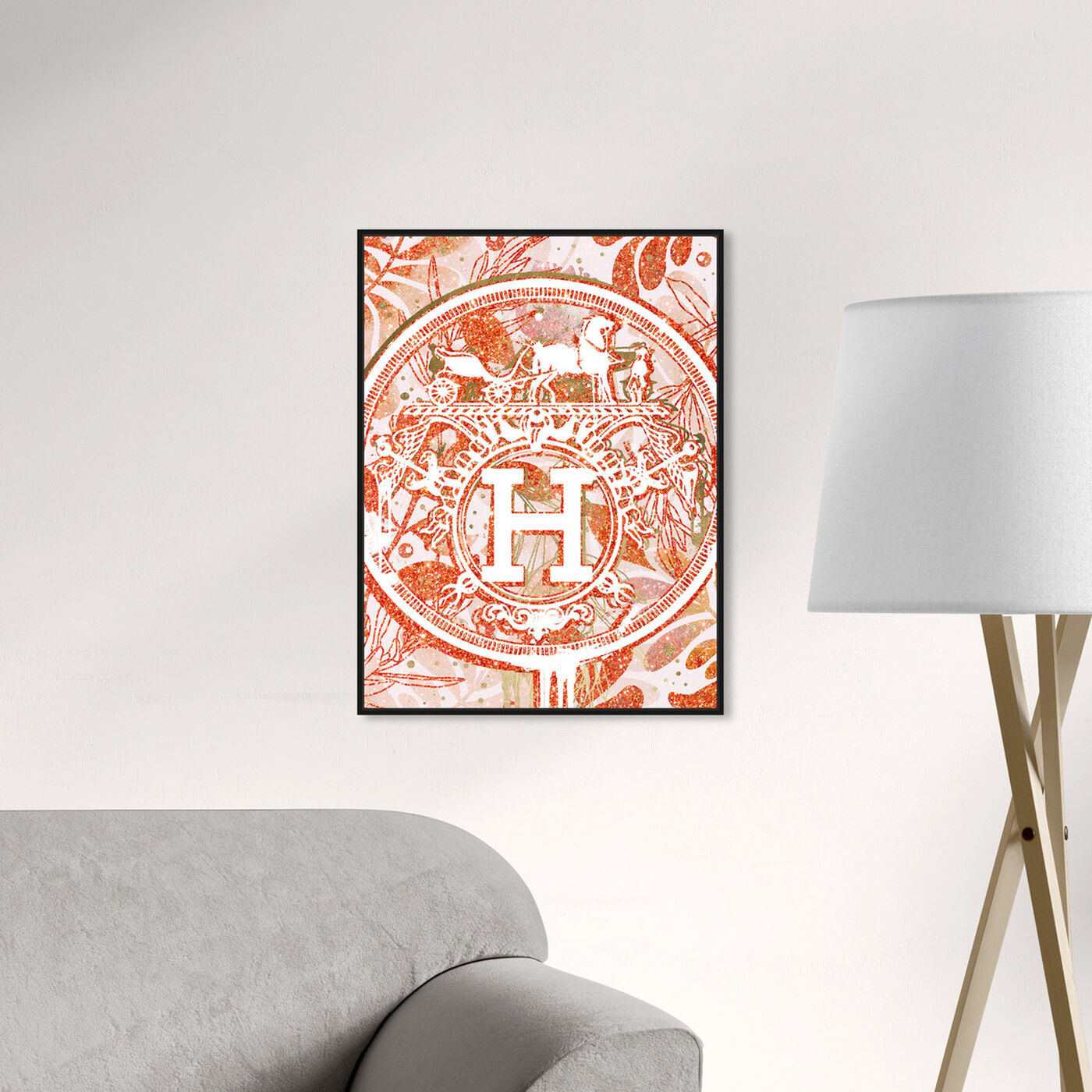 Hanging view of Retro Fields Tangerine featuring fashion and glam and lifestyle art.