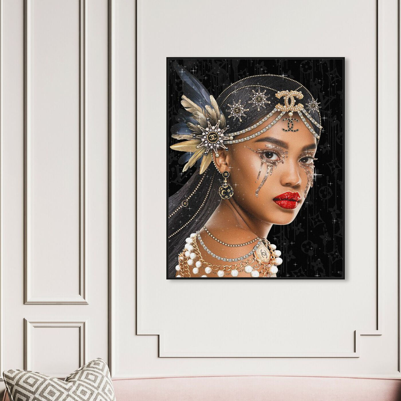 Hanging view of Haute Queen featuring fashion and glam and portraits art.