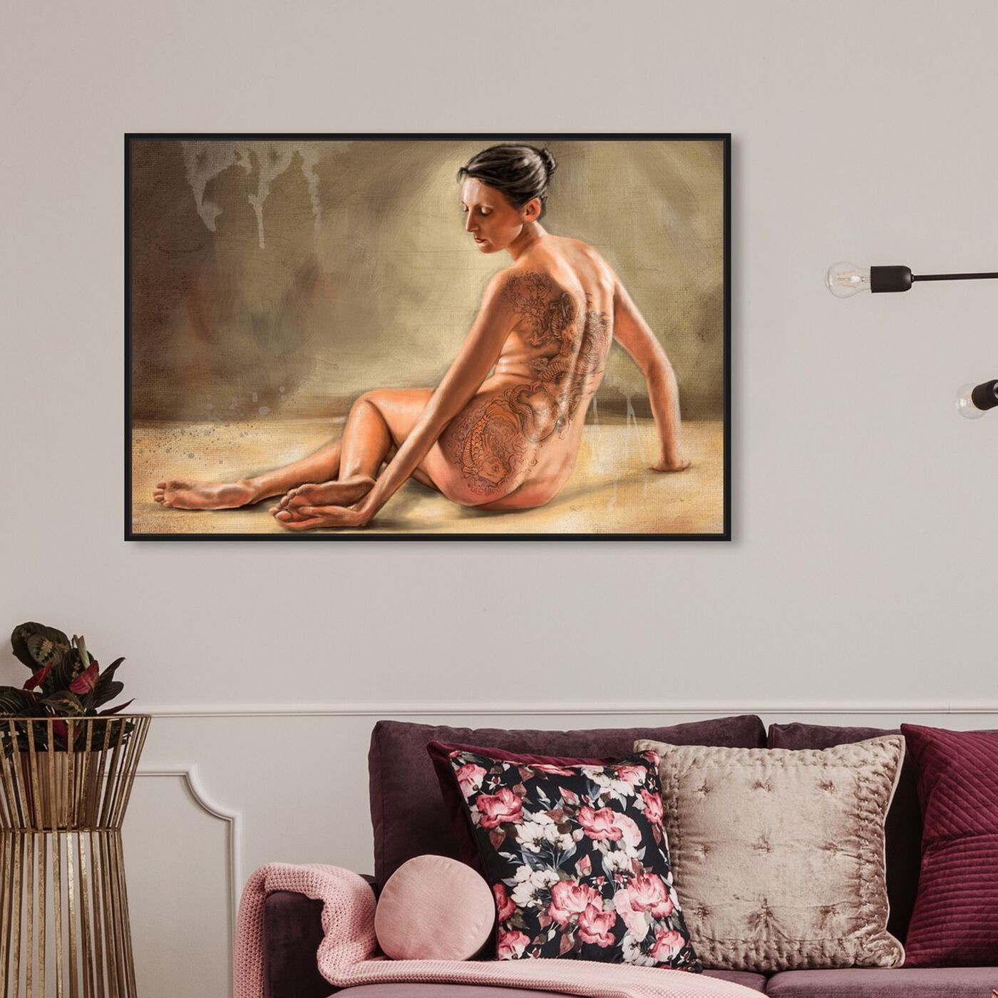 Hanging view of Painted Woman featuring people and portraits and nudes art.