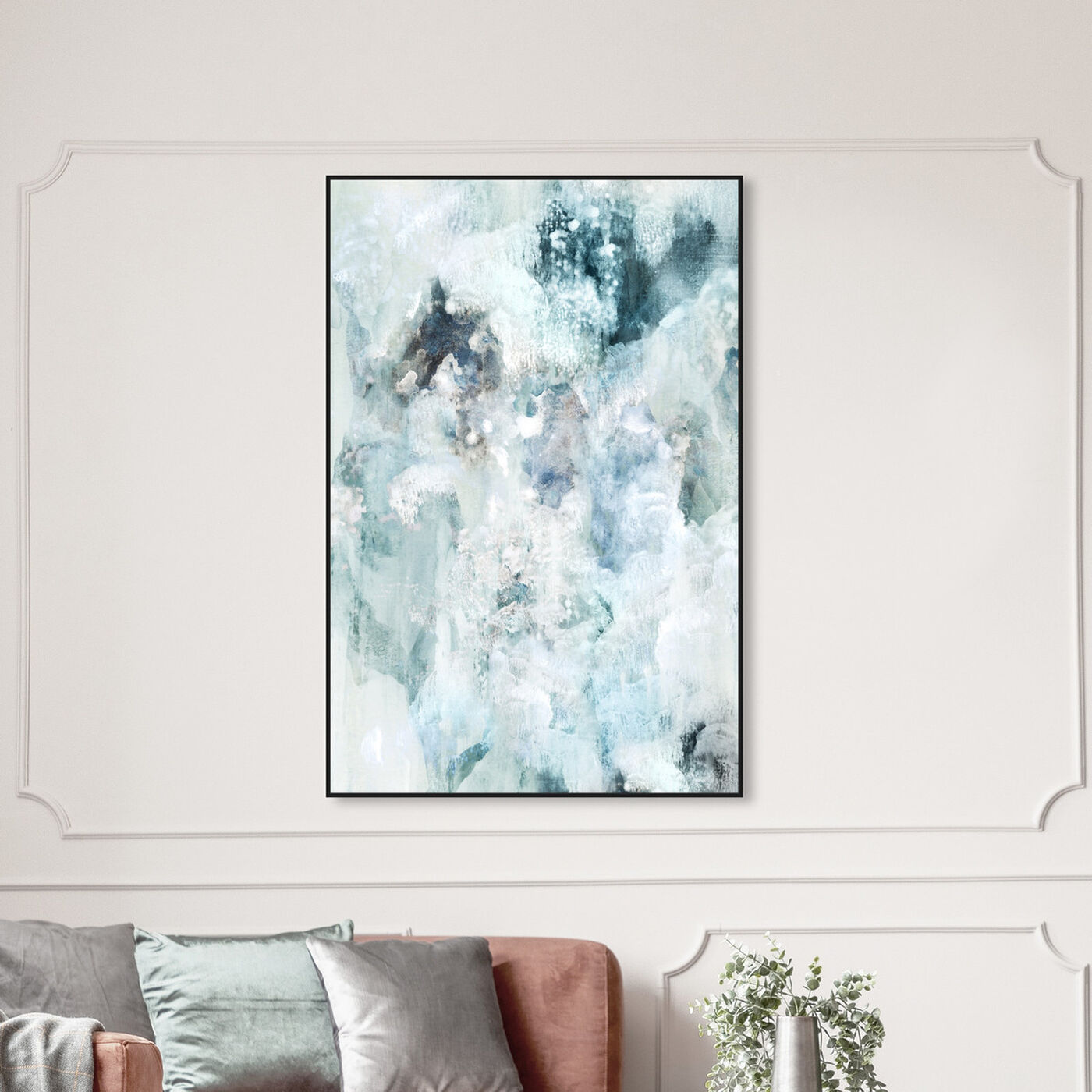 Hanging view of Snowy Clouds featuring abstract and paint art.
