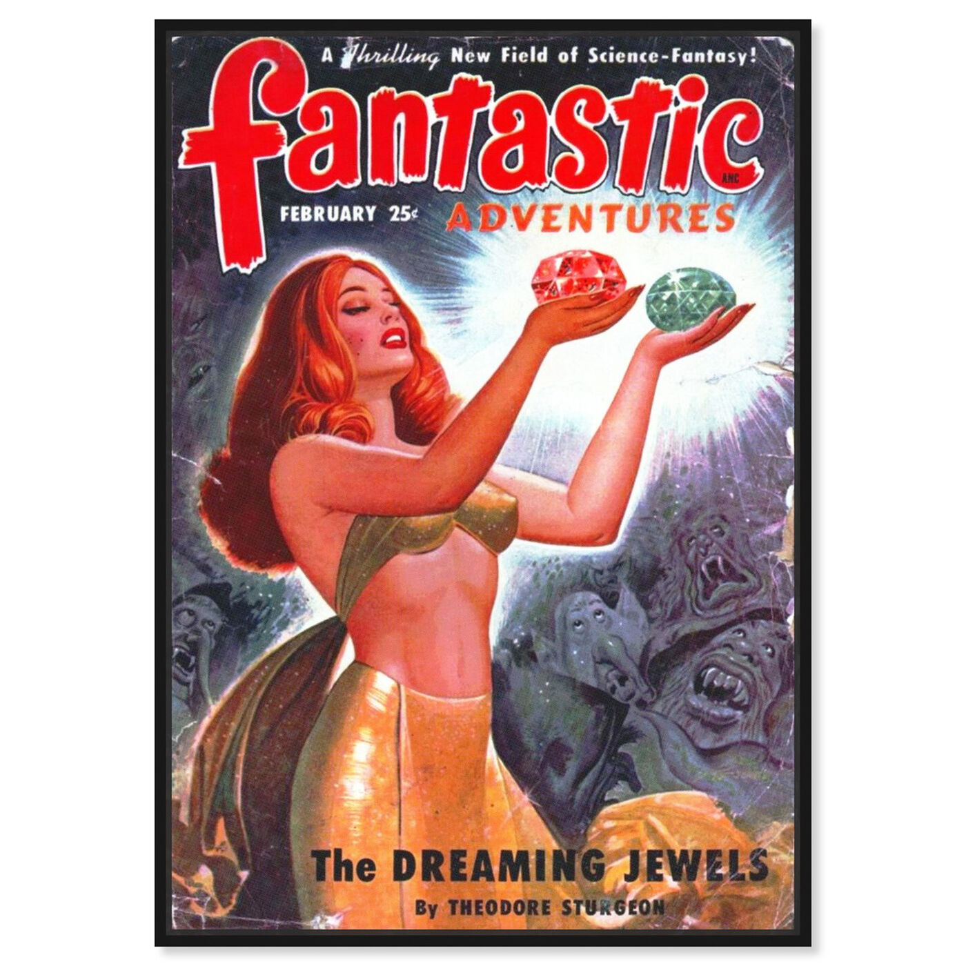 Front view of Fantastic Adventures featuring advertising and posters art.