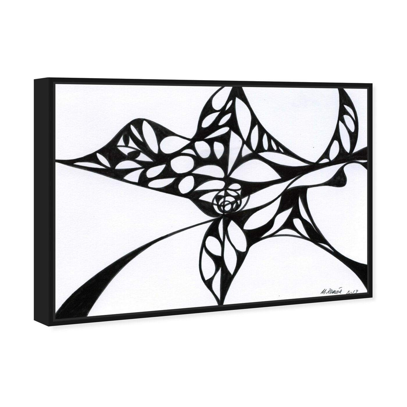 Angled view of Black Iris featuring abstract and geometric art.