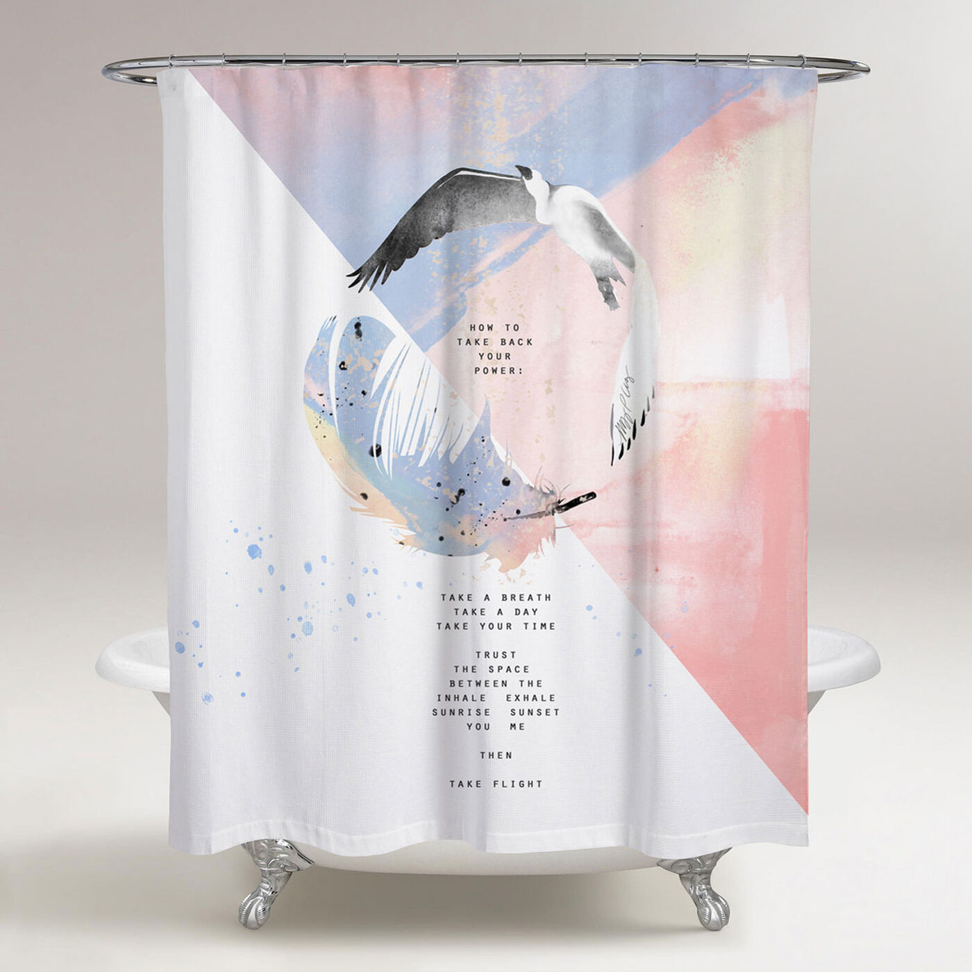 Feather Heron Shower Curtain by Maggie P. Chang