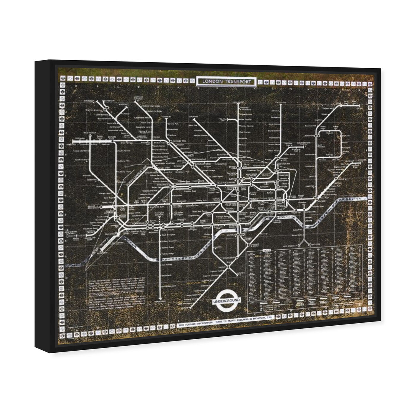 Angled view of London Tube 1972 featuring maps and flags and european cities flags art.