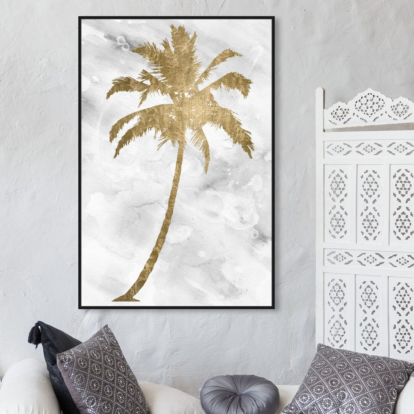 Hanging view of Palm Tree Gold featuring floral and botanical and trees art.