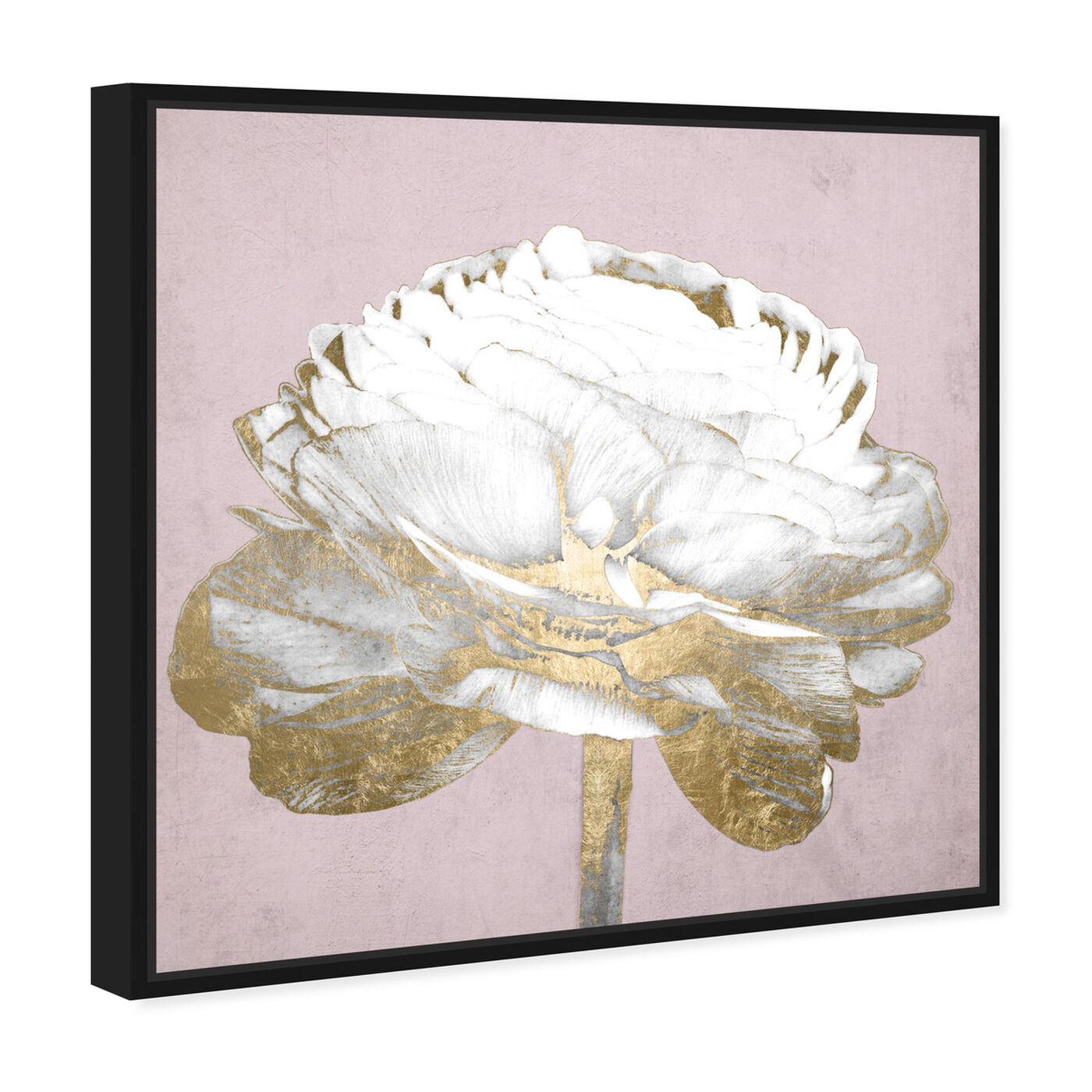 Angled view of Blush Gold Luxe Flower featuring floral and botanical and florals art.
