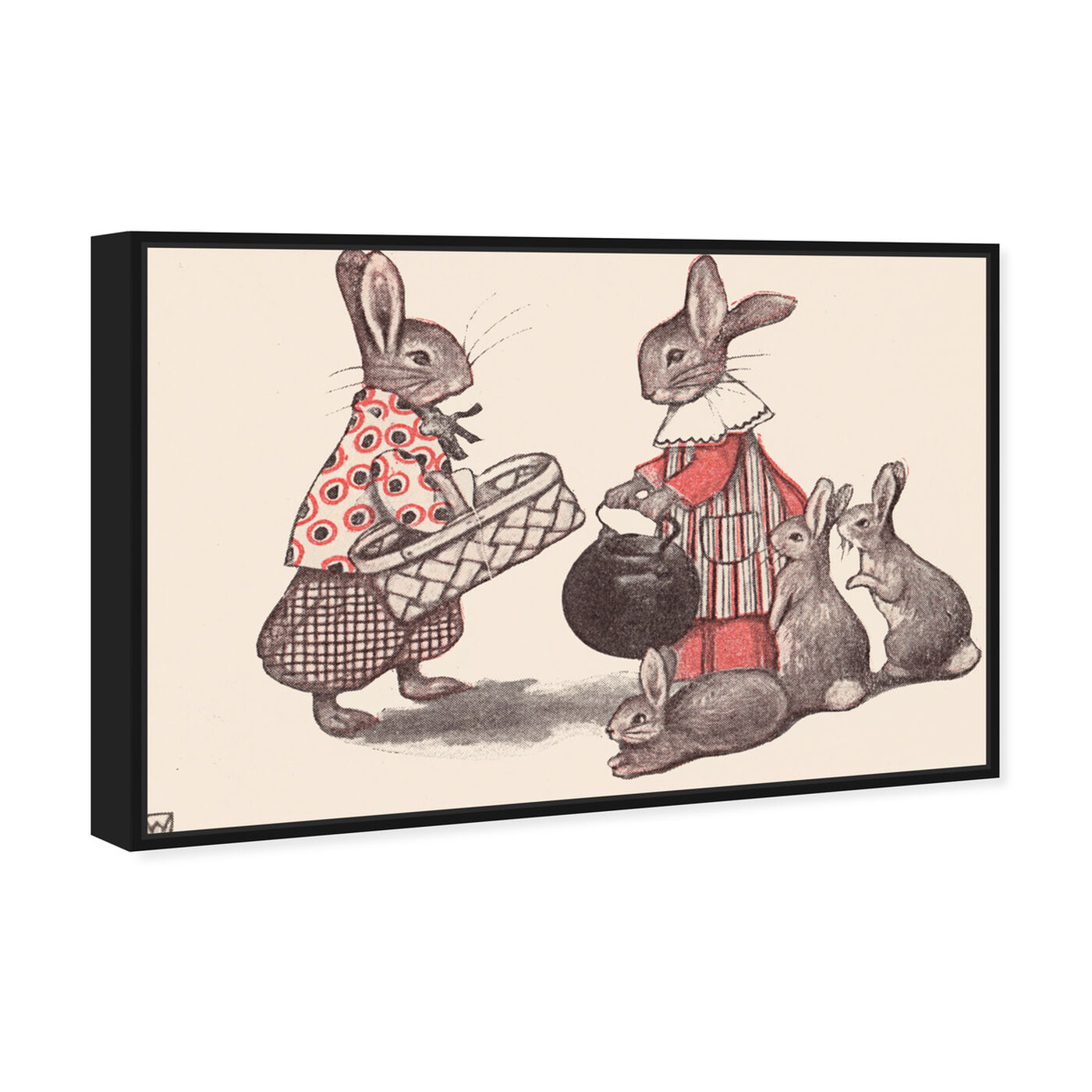 Angled view of Rabbit Family featuring animals and farm animals art.