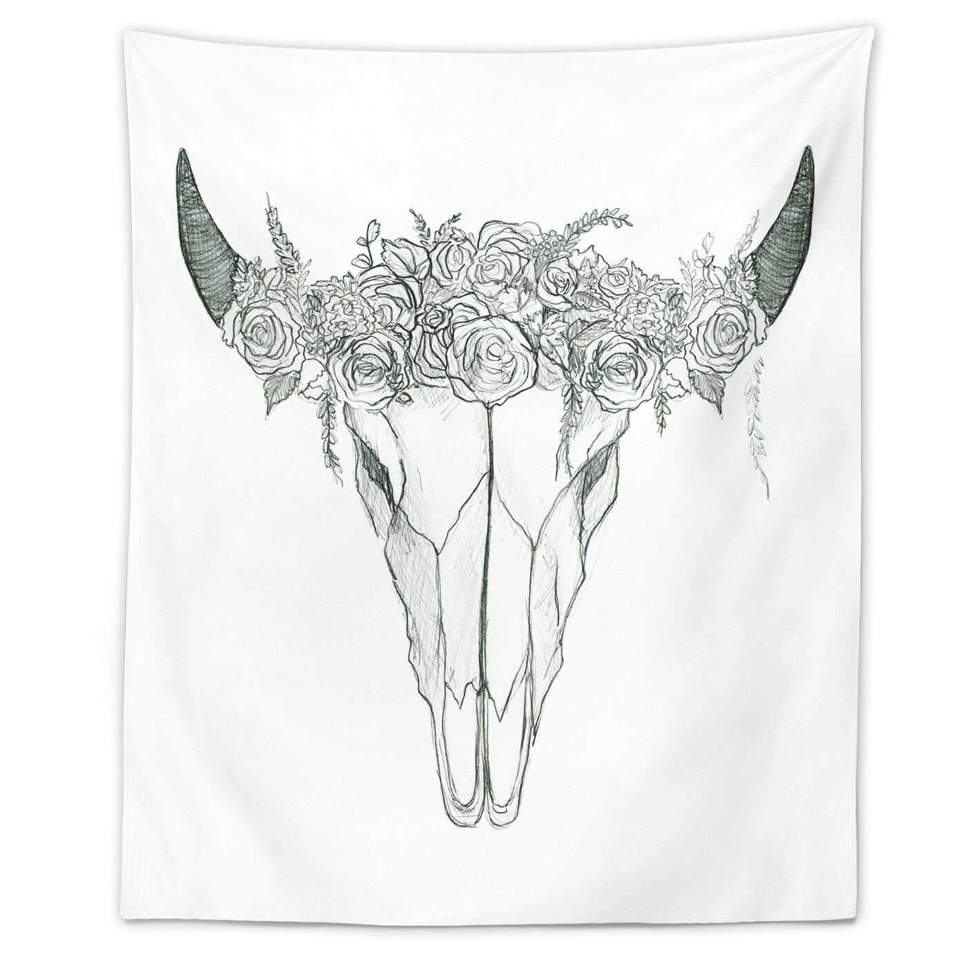 Sketchy Floral Skull Tapestry Art